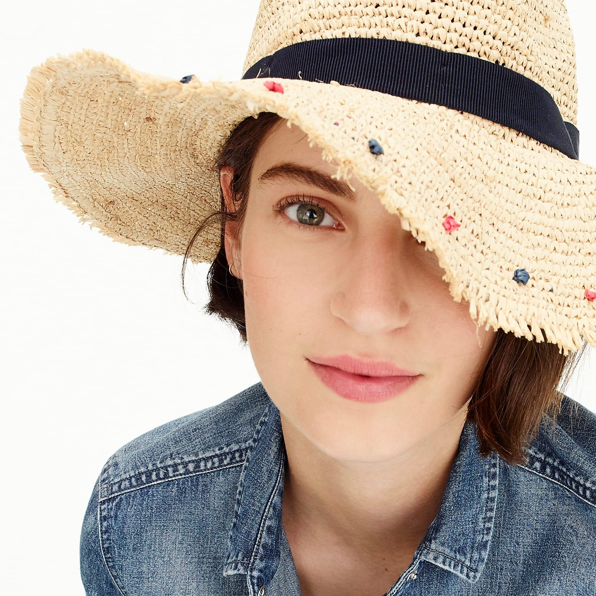 70069fbb547c6 J.Crew - Blue Embellished Packable Straw Hat - Lyst. View fullscreen