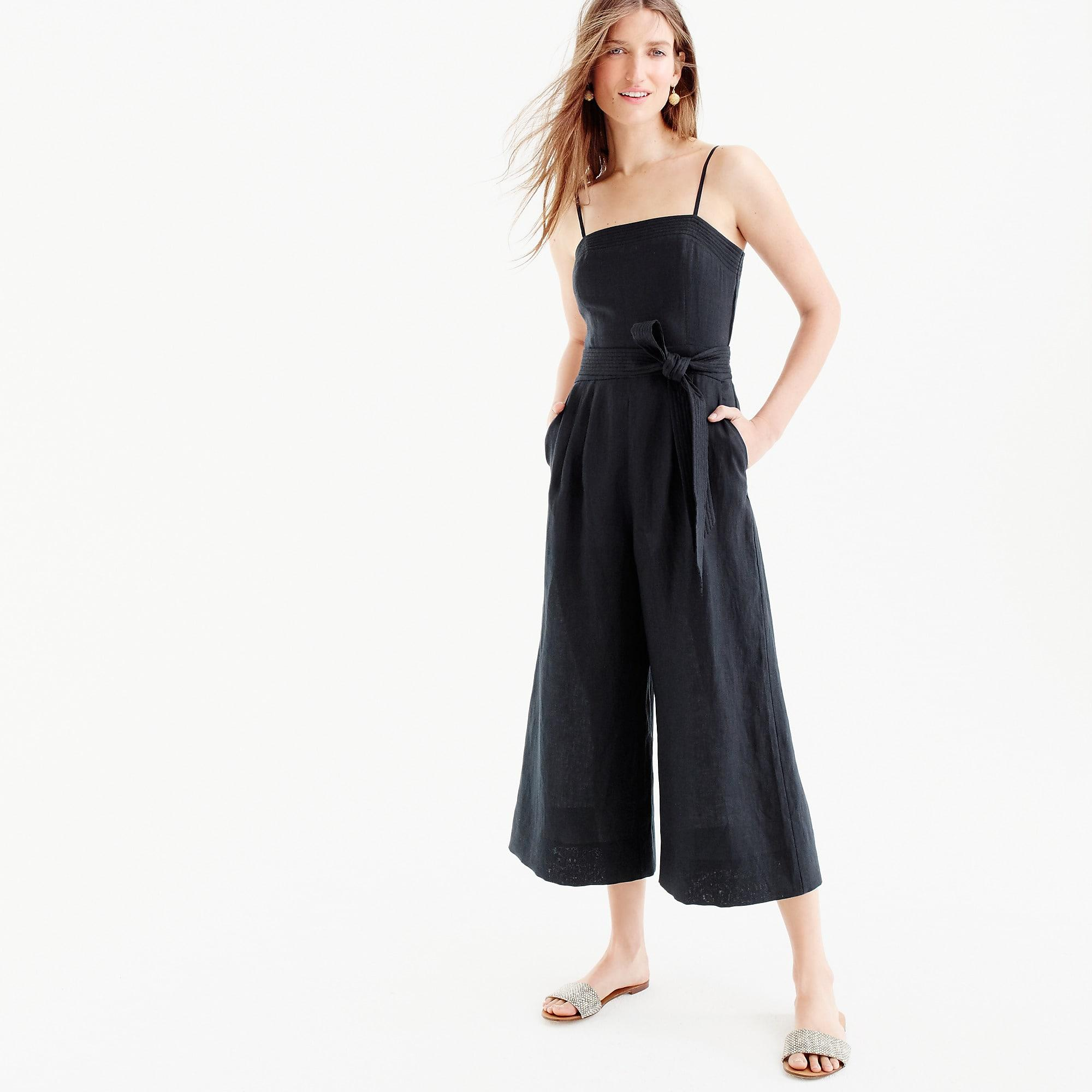 41537afb523 J.Crew Petite Linen Jumpsuit With Tie in Black - Lyst