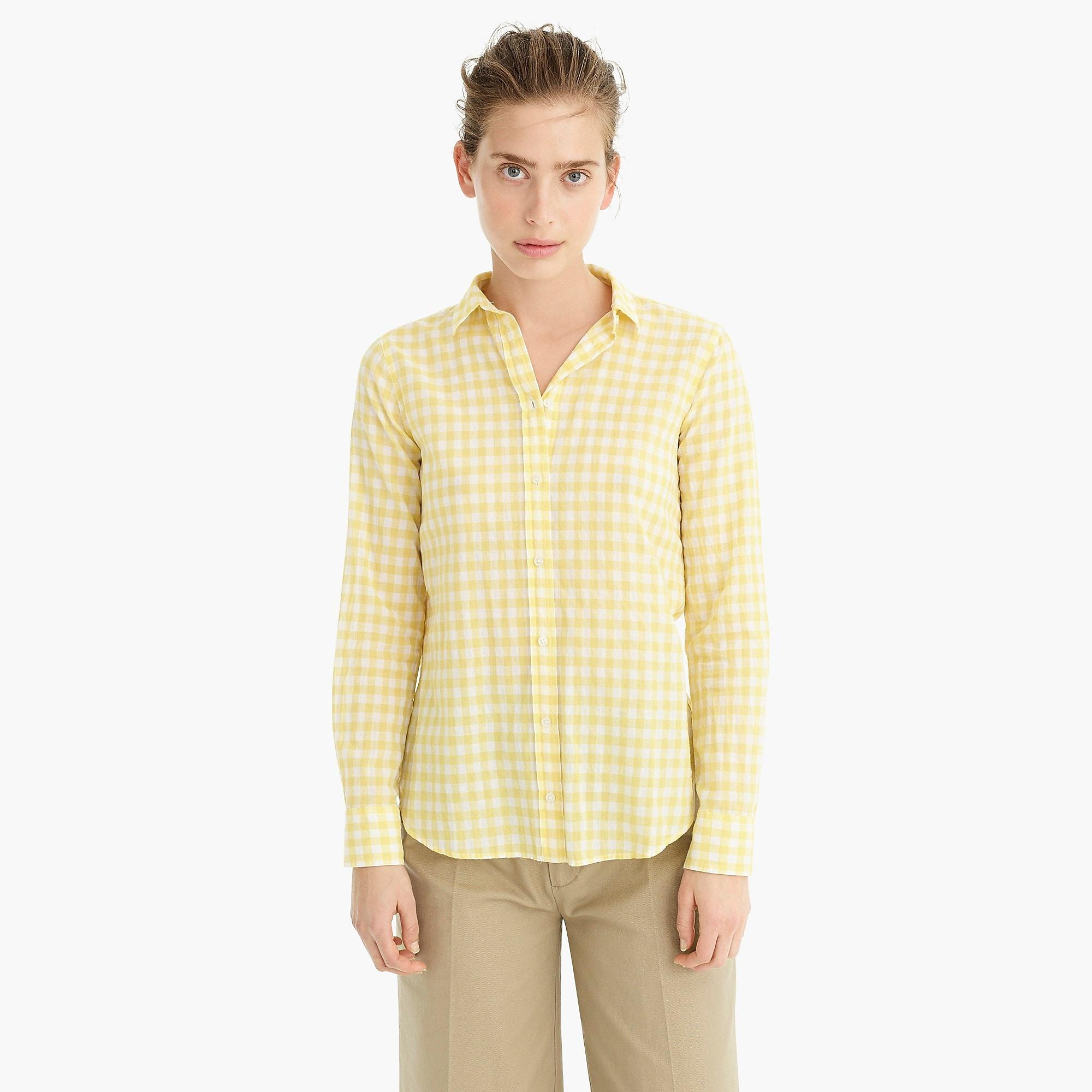 6266ed54800 Lyst - J.Crew Petite Classic-fit Boy Shirt In Crinkle Gingham in Yellow