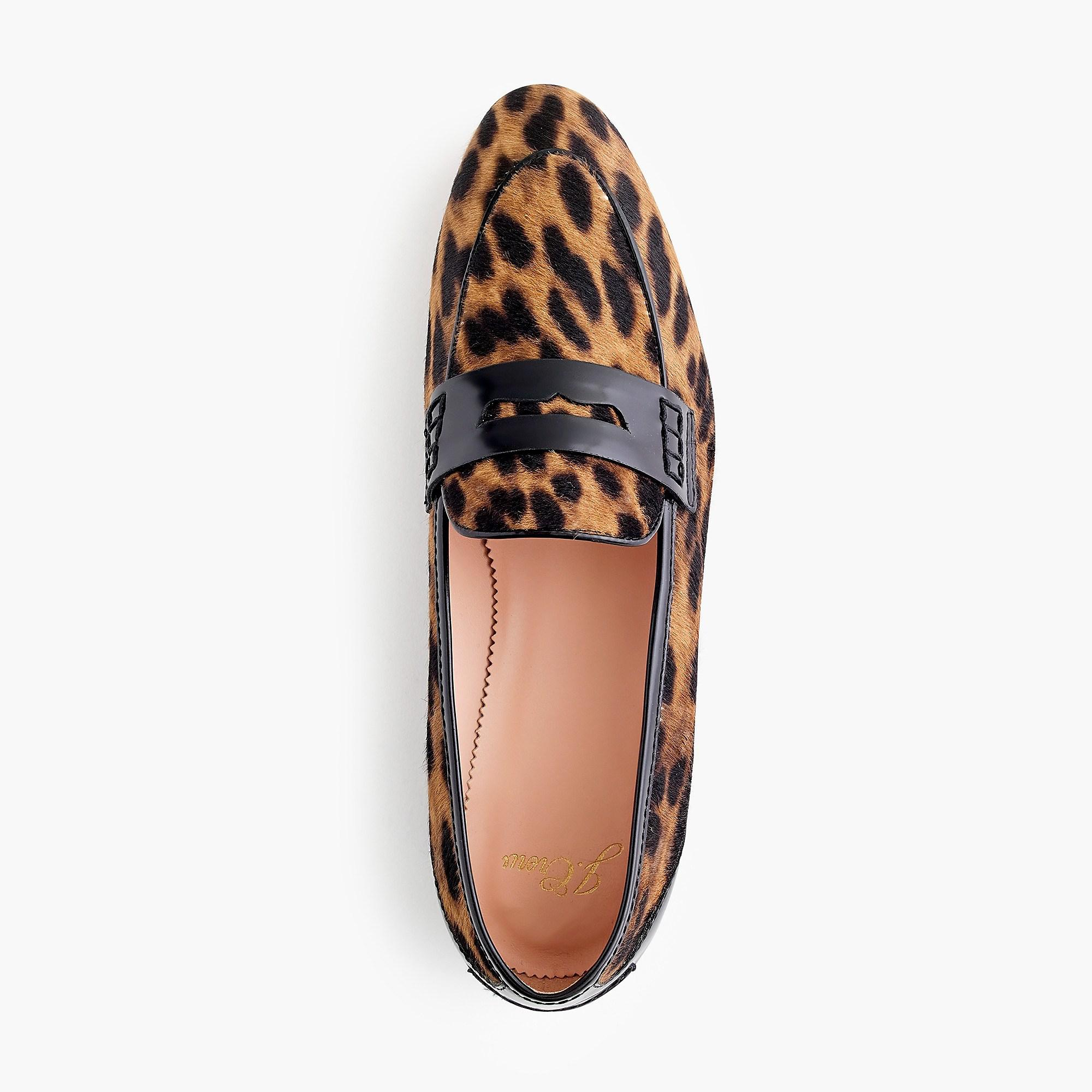 e2737f67405 J.Crew Academy Penny Loafers In Leopard Calf Hair in Brown - Lyst