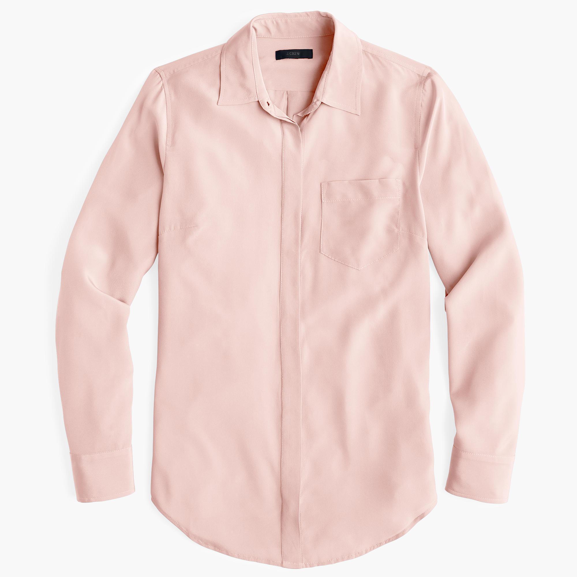 a3e71de7ab6fb J.Crew Petite Silk Button-up Shirt in Pink - Lyst