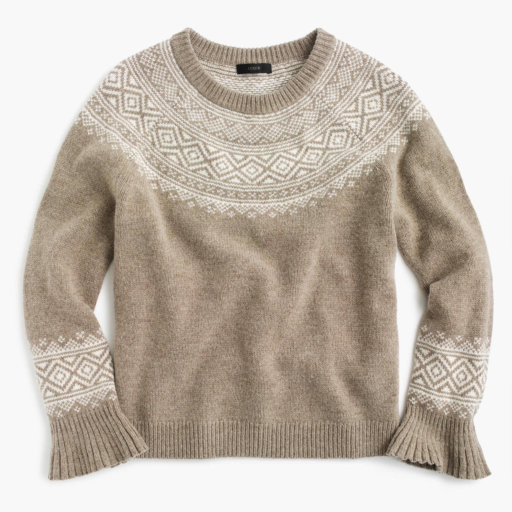 J.crew Fair Isle Ruffle-sleeve Sweater | Lyst