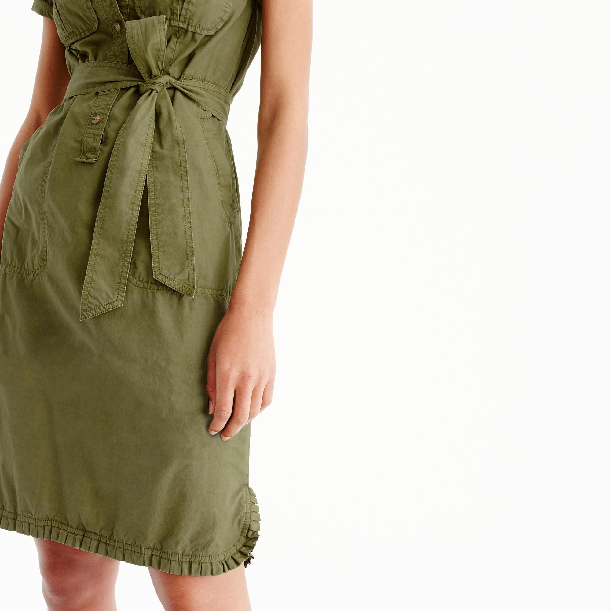 bb1d27aac2 J.Crew Ruffle-hem Utility Dress in Green - Lyst