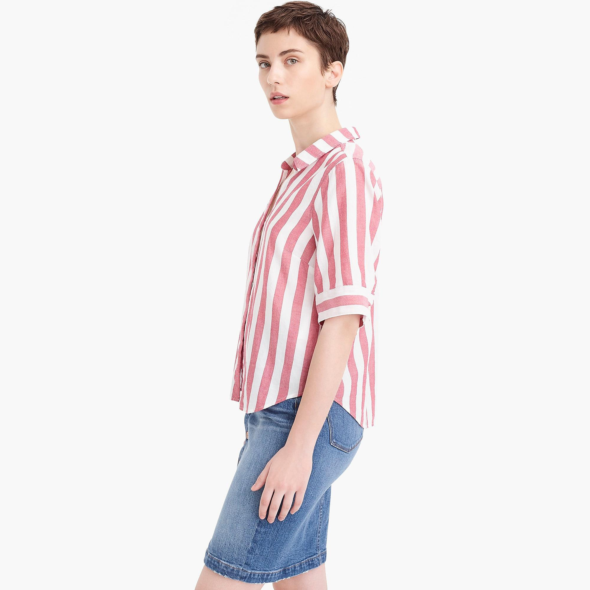 1ba34db3a J.Crew Petite Short-sleeve Button-up Shirt In Wide Stripe - Lyst