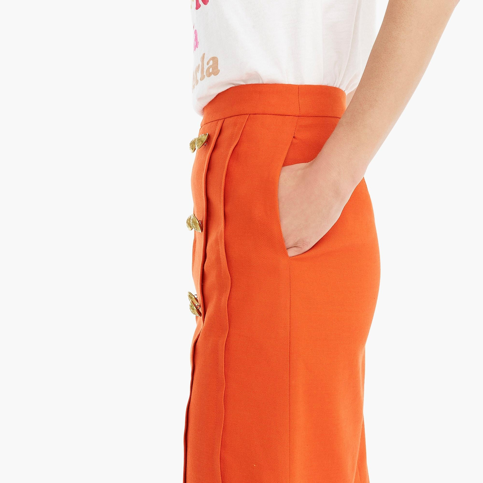 4dea02a0b J.Crew - Orange Tall Pleated-front Sailor Skirt In Stretch Linen - Lyst.  View fullscreen