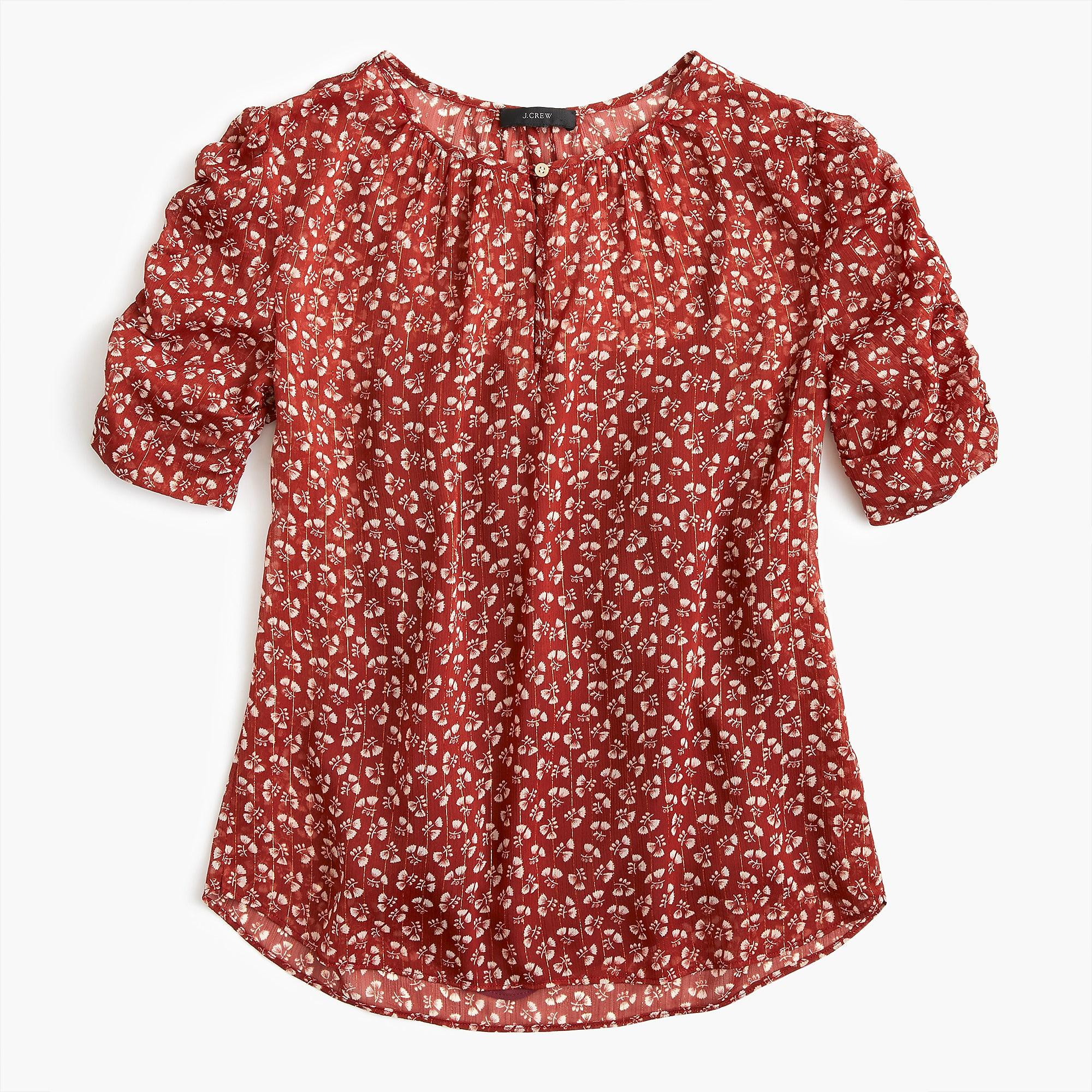 33e8d5dcafd Lyst - J.Crew Ruched-sleeve Top In Sparkle Floral in Red