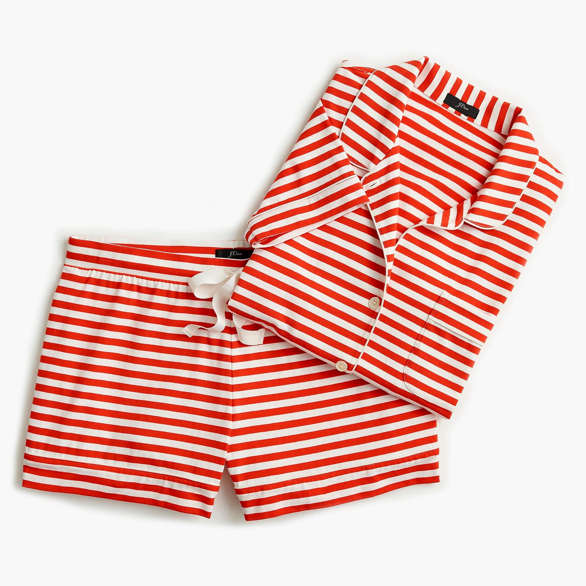 74bd0209e J.Crew Dreamy Short-sleeve Cotton Pajama Set In Stripe in Red - Lyst