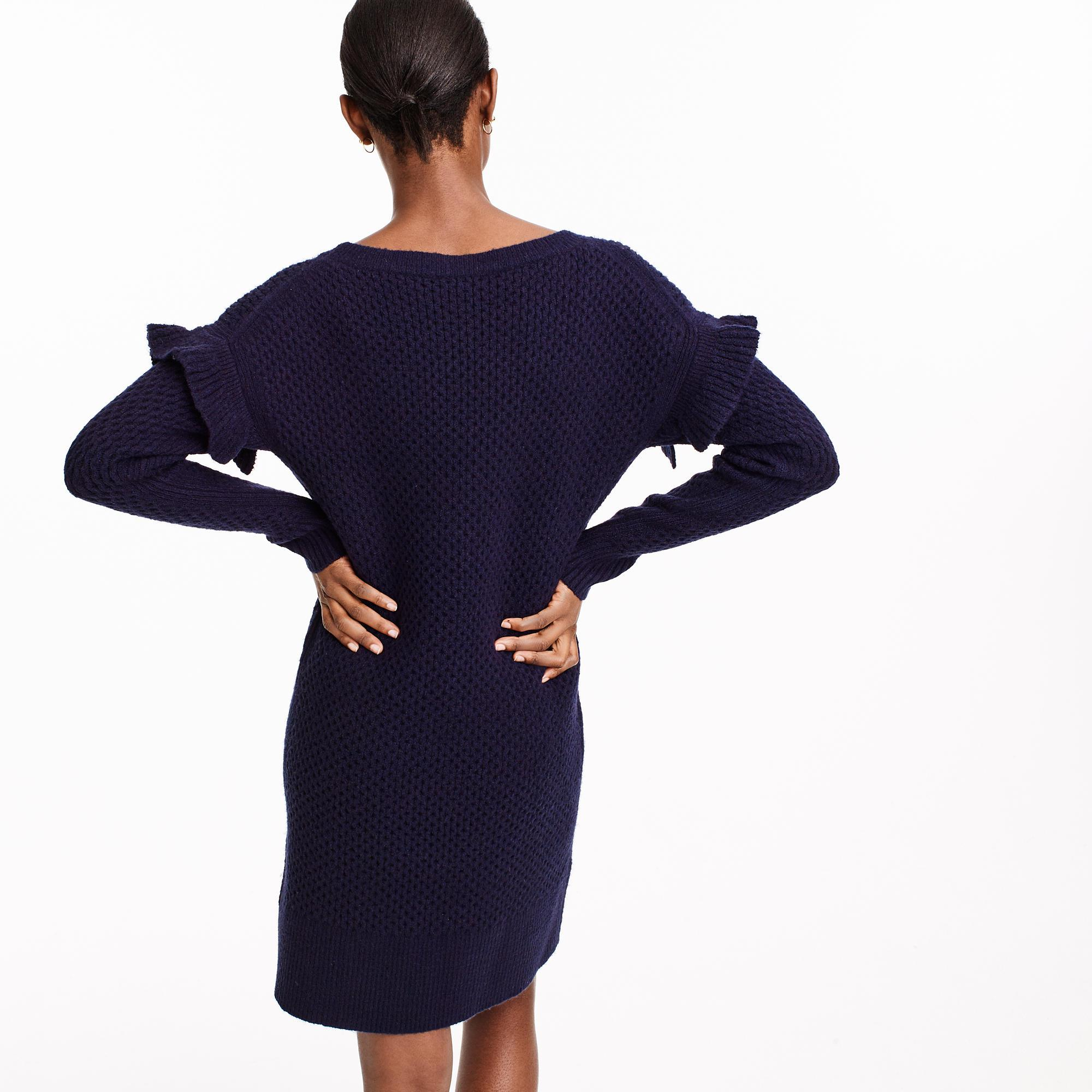 91c043deab2 Lyst - J.Crew Cable-knit Ruffle-sleeve Sweater-dress in Blue