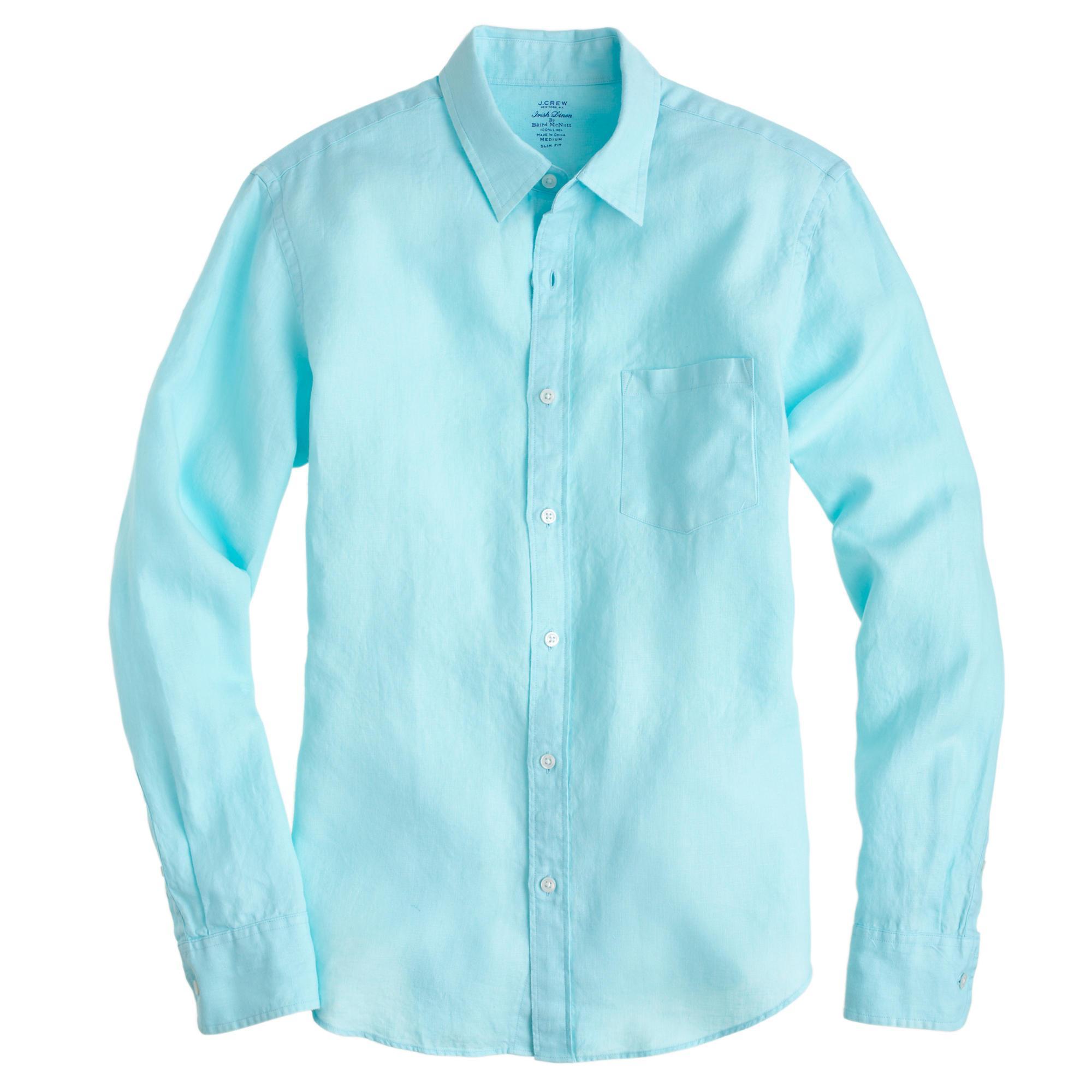 Lyst j crew irish linen shirt in blue for men for Irish linen dress shirts