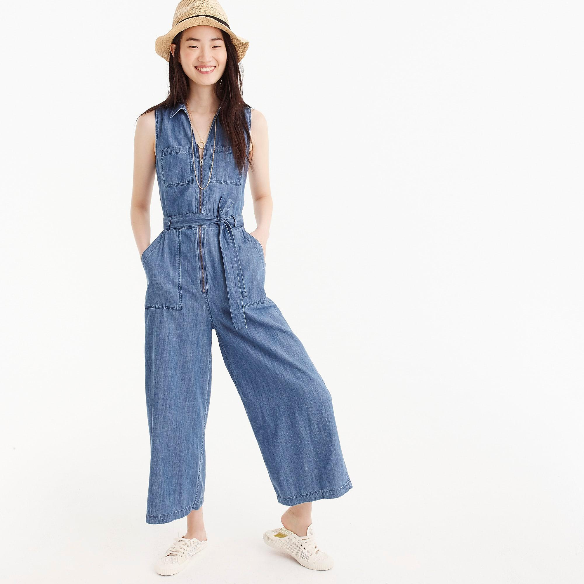 ef5f825f945c J.Crew Petite Point Sur Zip-front Chambray Jumpsuit in Blue - Lyst