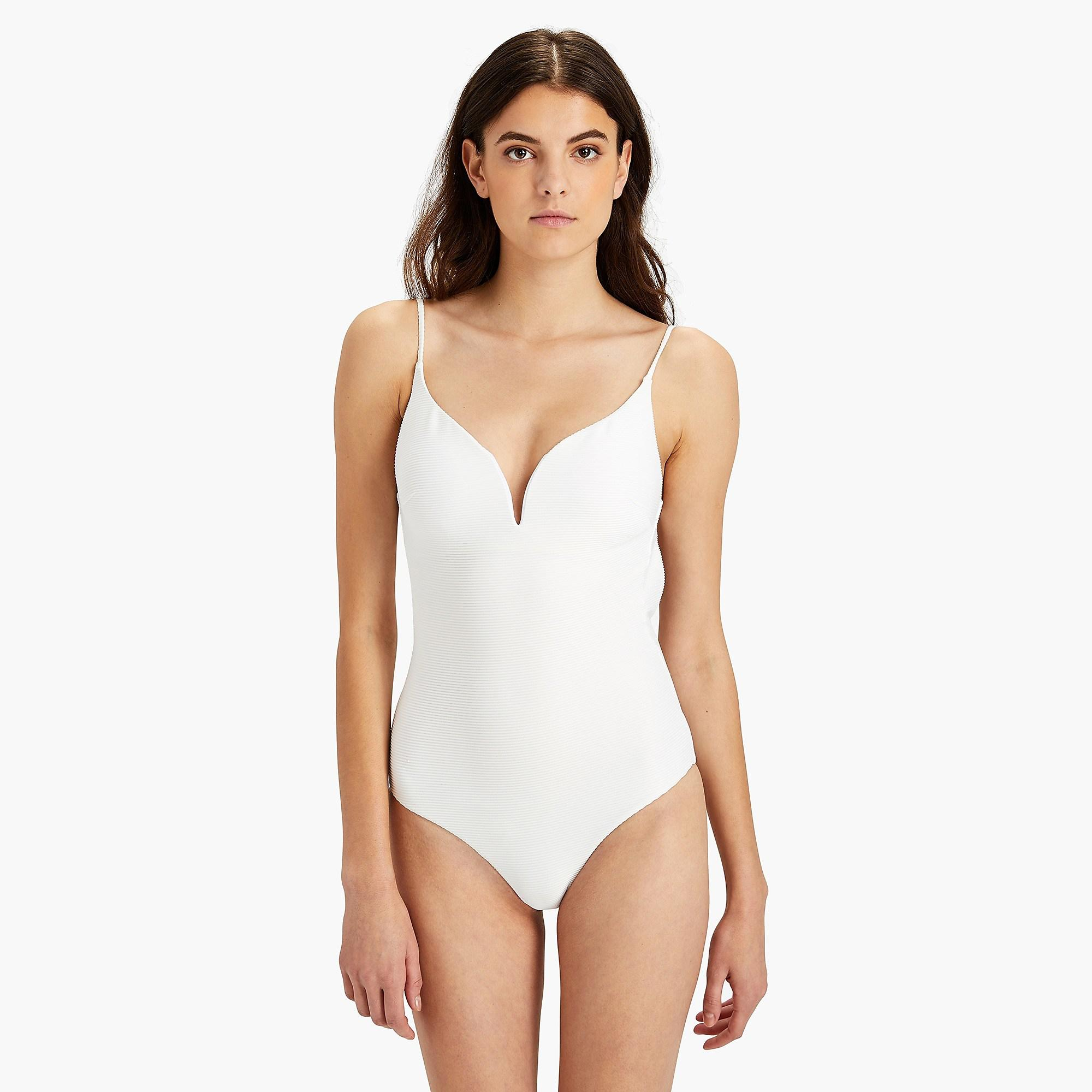 2d475e5b8f190 Lyst - J.Crew Onia Gloria Ribbed Solid One-piece in White