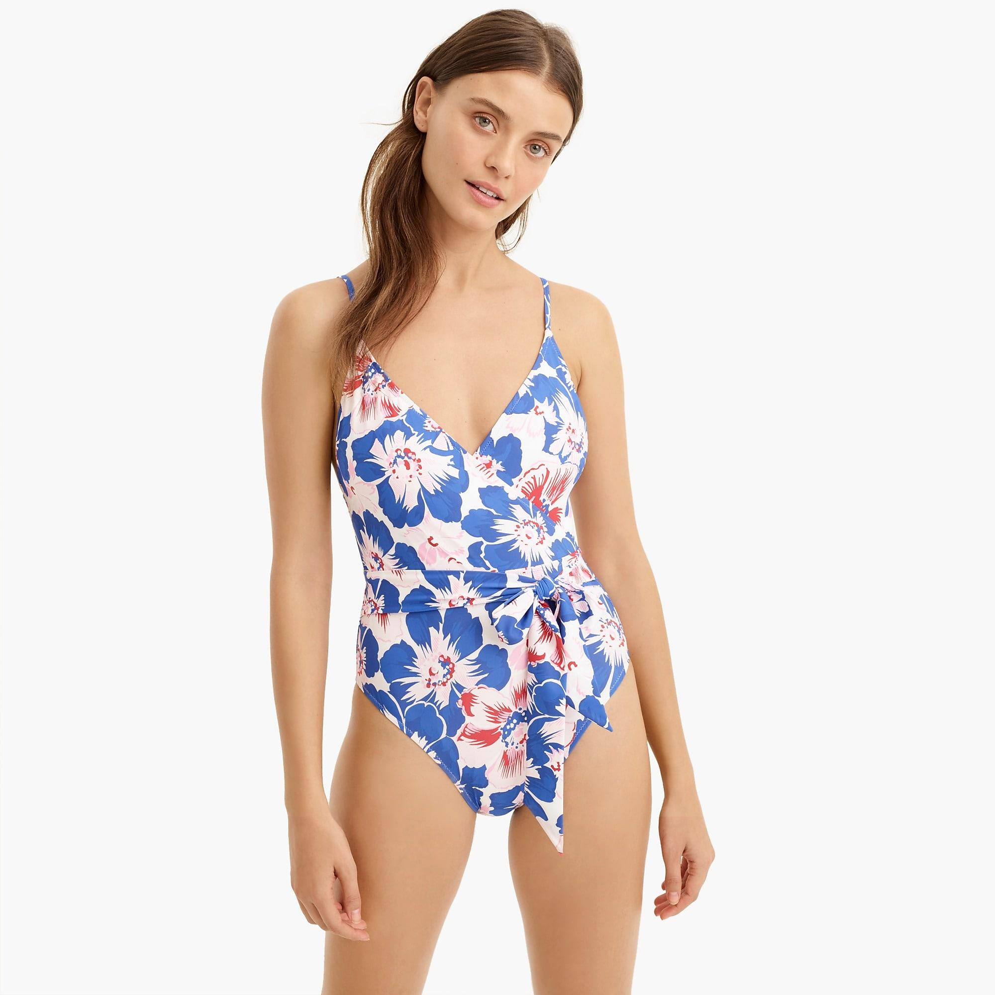 380e488792 J.Crew - Blue Eco V-neck Wrap One-piece Swimsuit In Pansy. View fullscreen