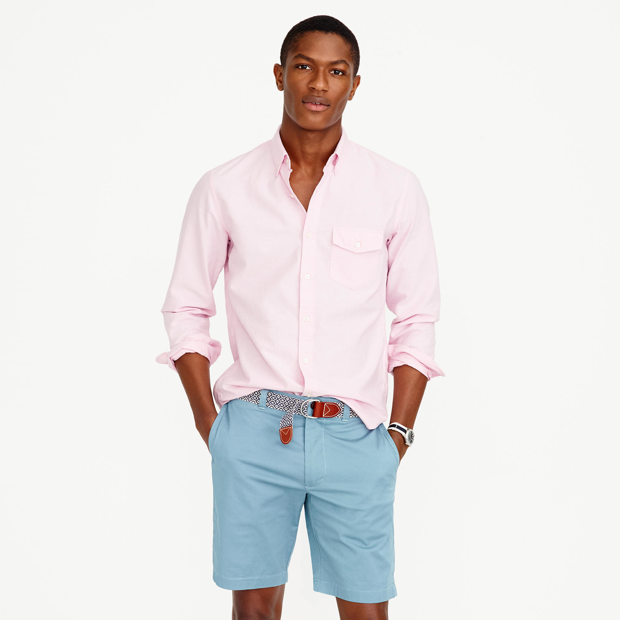 Slim lightweight oxford shirt in solid in pink for for J crew mens outfits