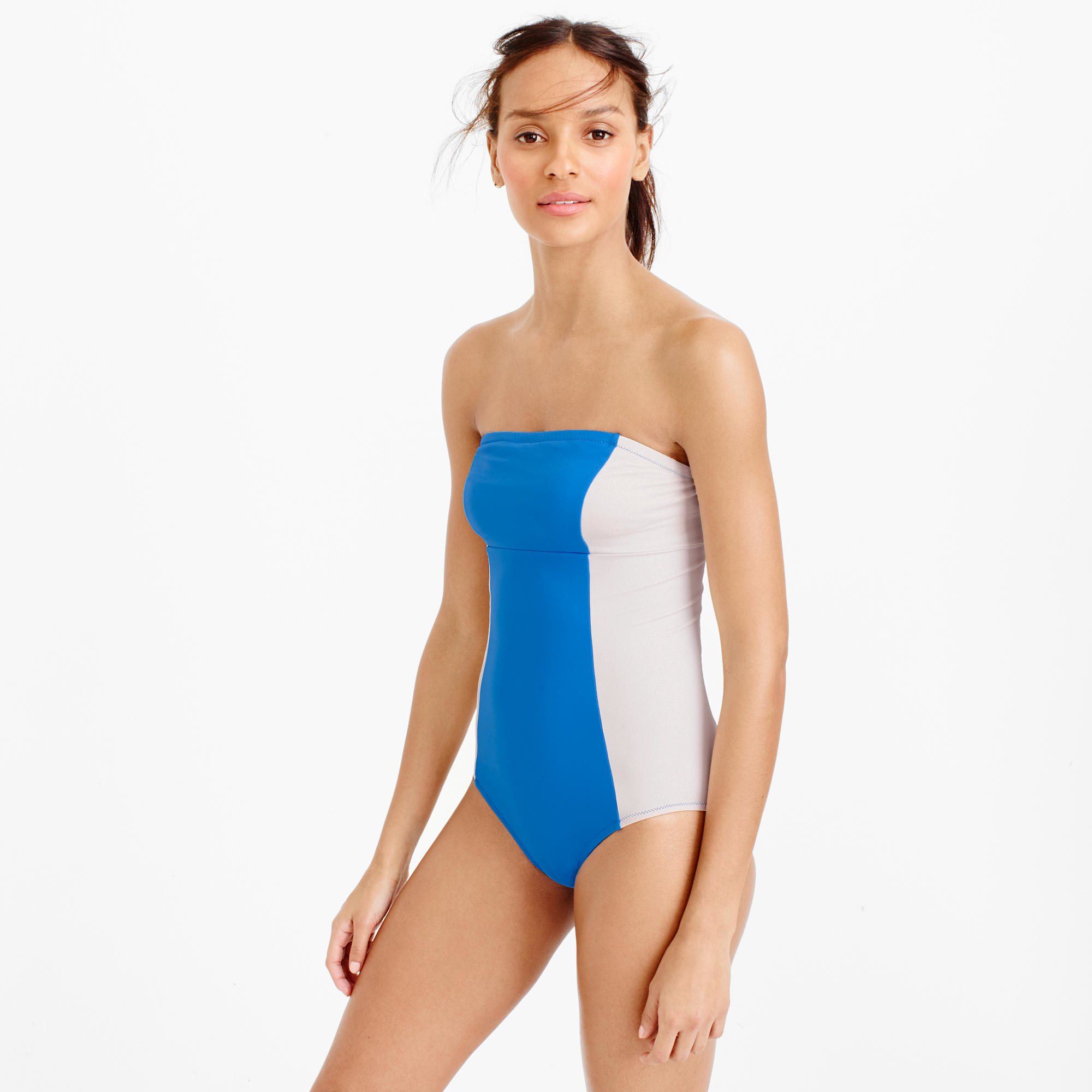 02528ddefab Lyst - J.Crew Long Torso Colorblock Bandeau One-piece Swimsuit in Blue