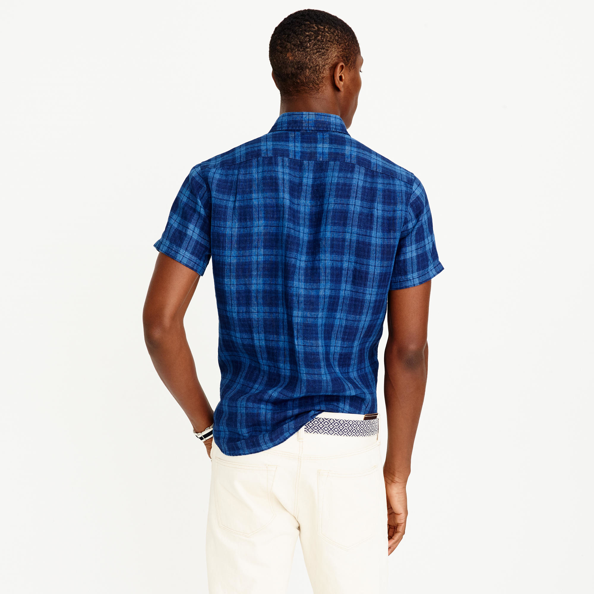 Short sleeve irish linen shirt in indigo plaid in for Irish linen dress shirts