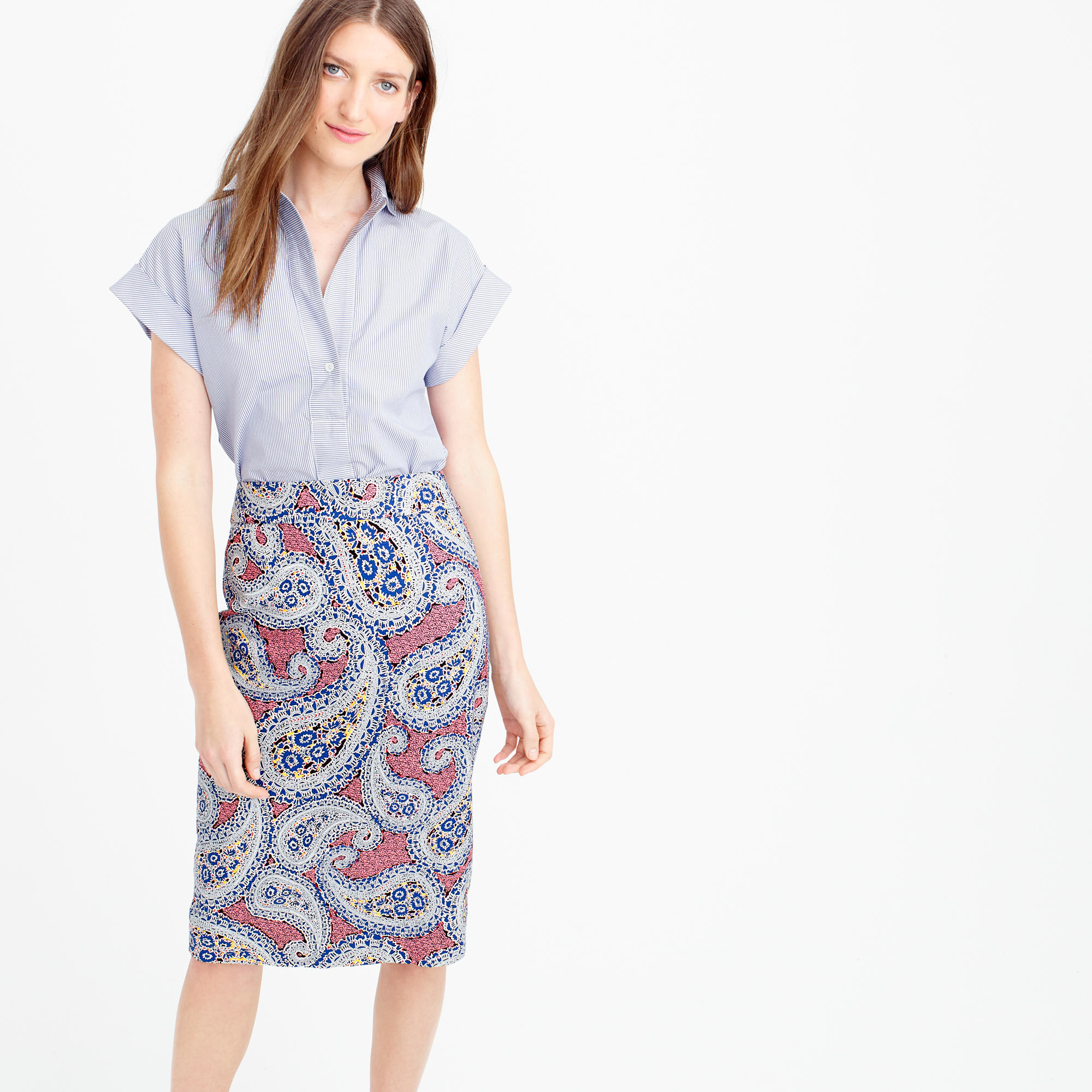 j crew no 2 pencil skirt in paisley in blue lyst