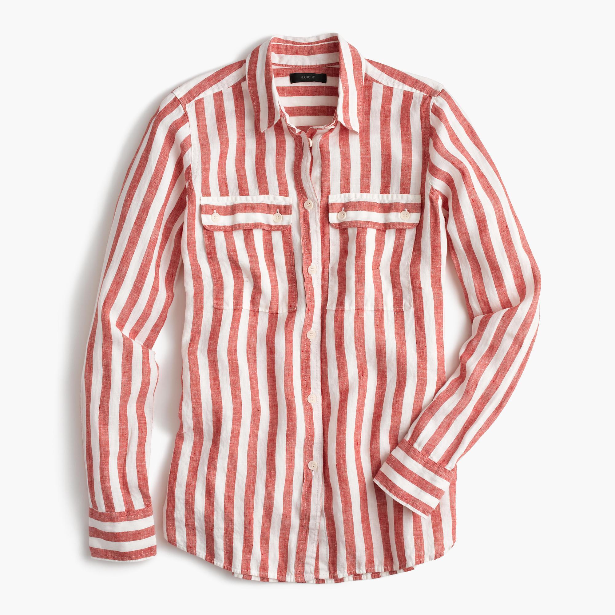 Tall button up shirt in striped cotton linen in red for Striped button up shirt mens