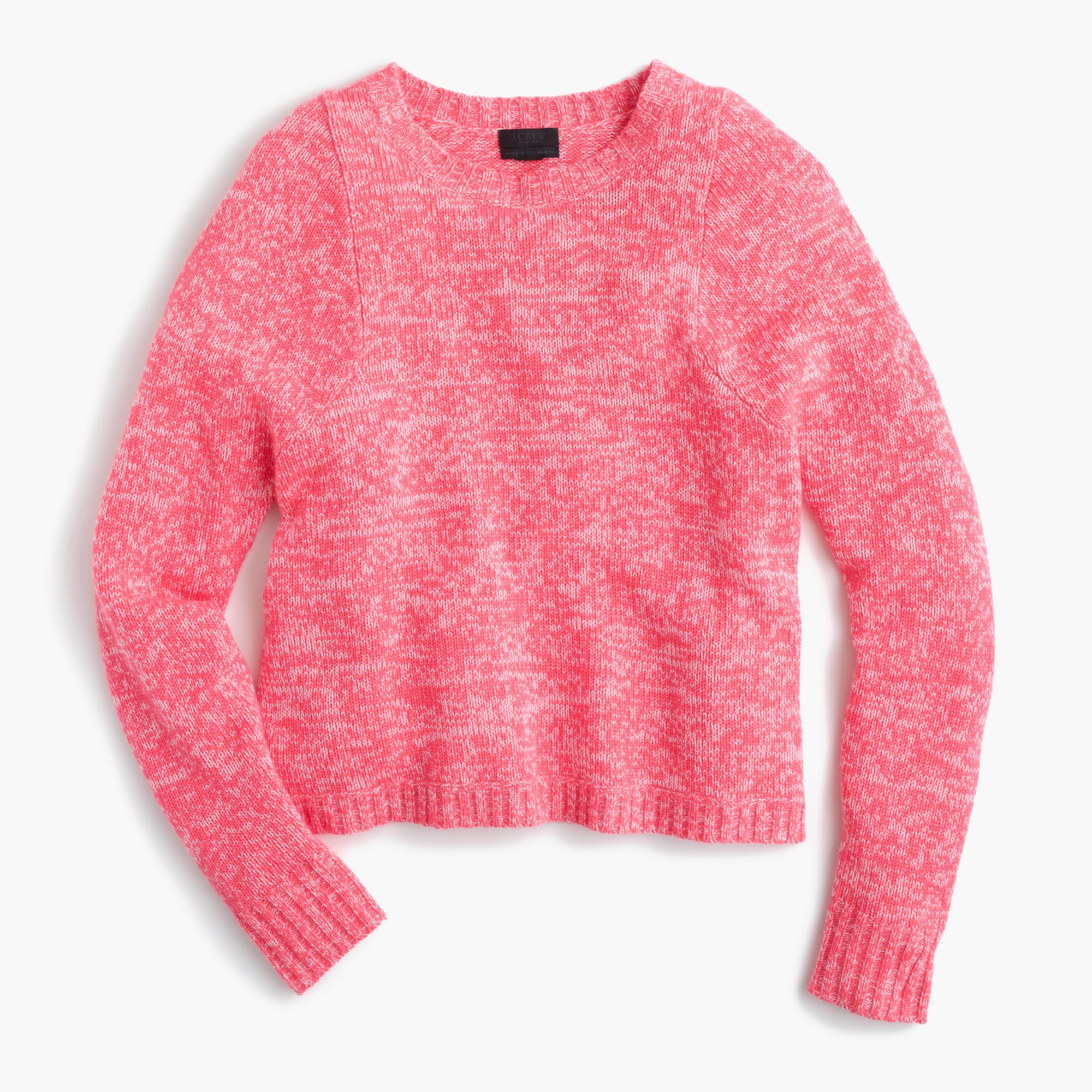J.crew Italian Cashmere Marled Crewneck Sweater in Pink | Lyst