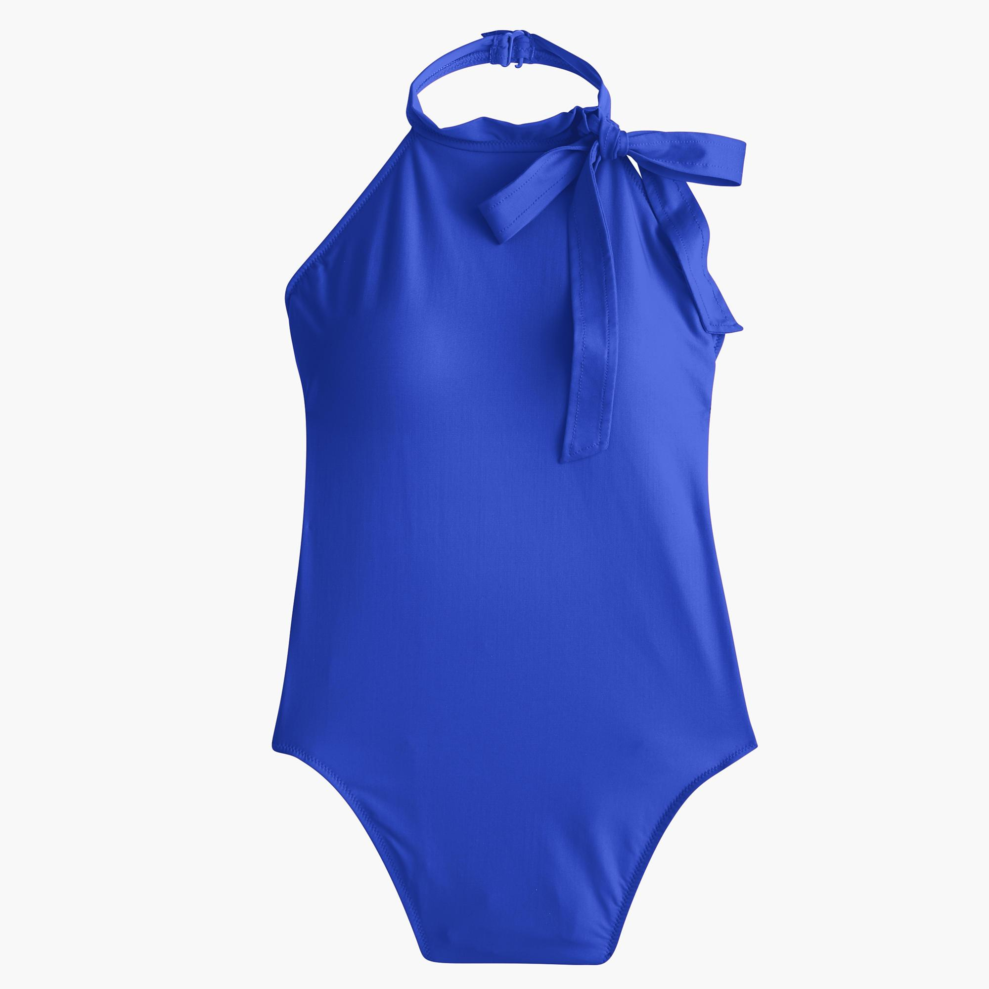 c40b7a211f026 J.Crew Halter Bow-tie One-piece Swimsuit in Blue - Lyst