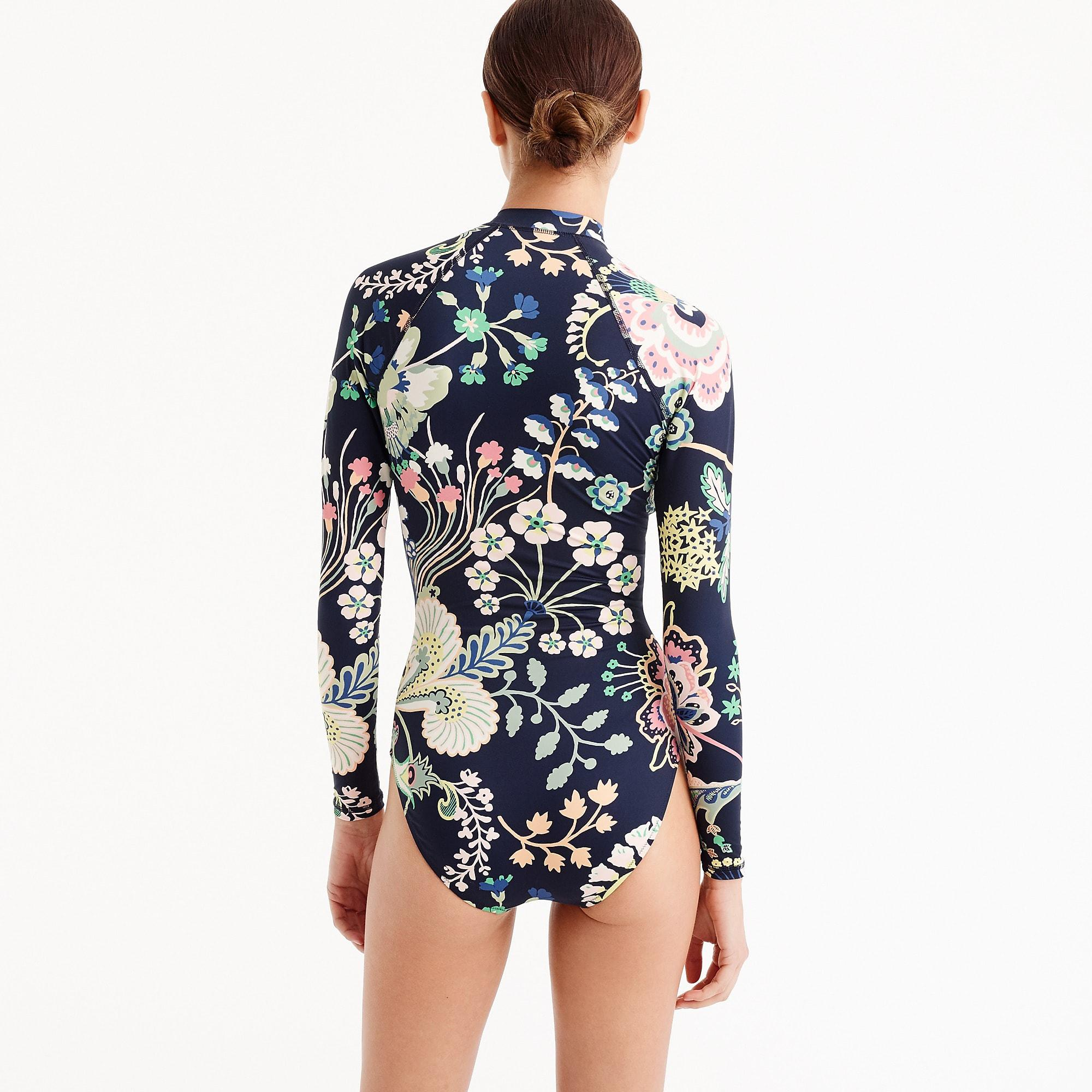 754e6b4489 J.Crew Zip-up Long-sleeve Swimsuit In Liberty Floral Symphony in ...