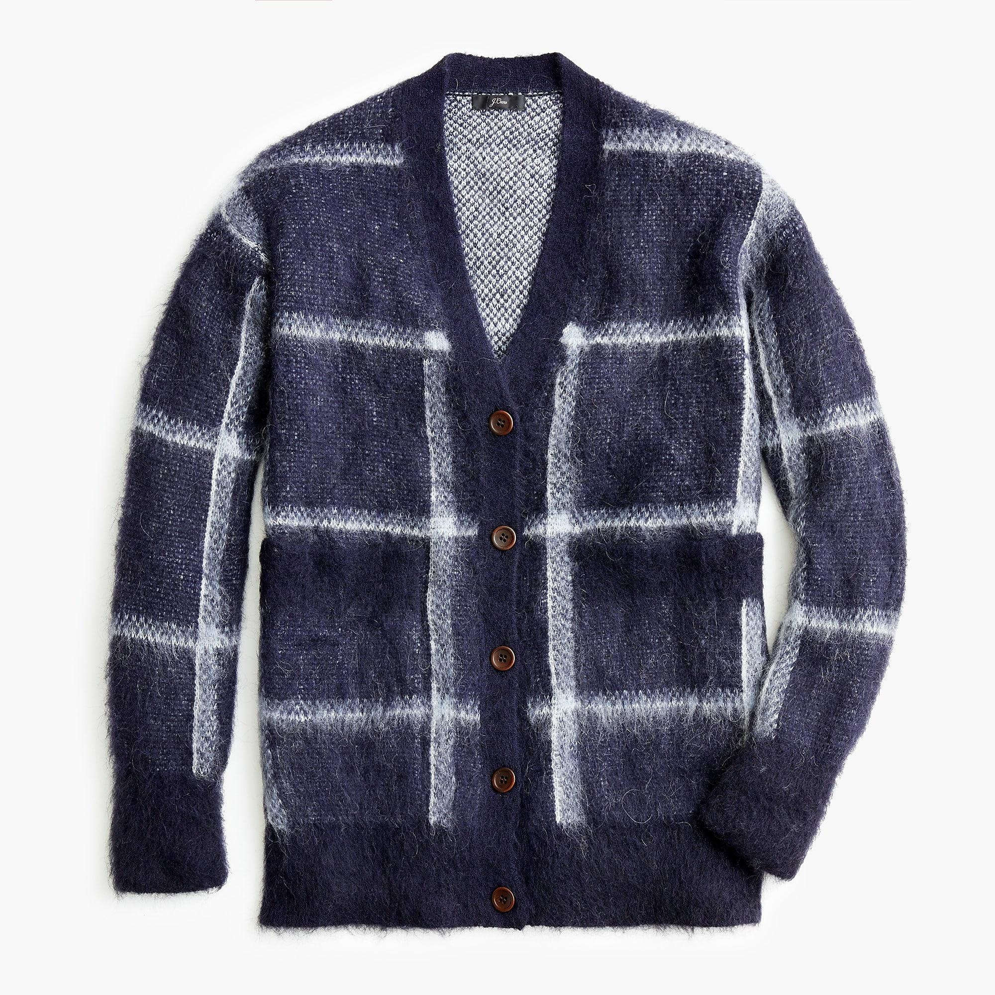 b94a0fabe5 Lyst - J.Crew Lian Checked Brushed Knitted Cardigan in Blue