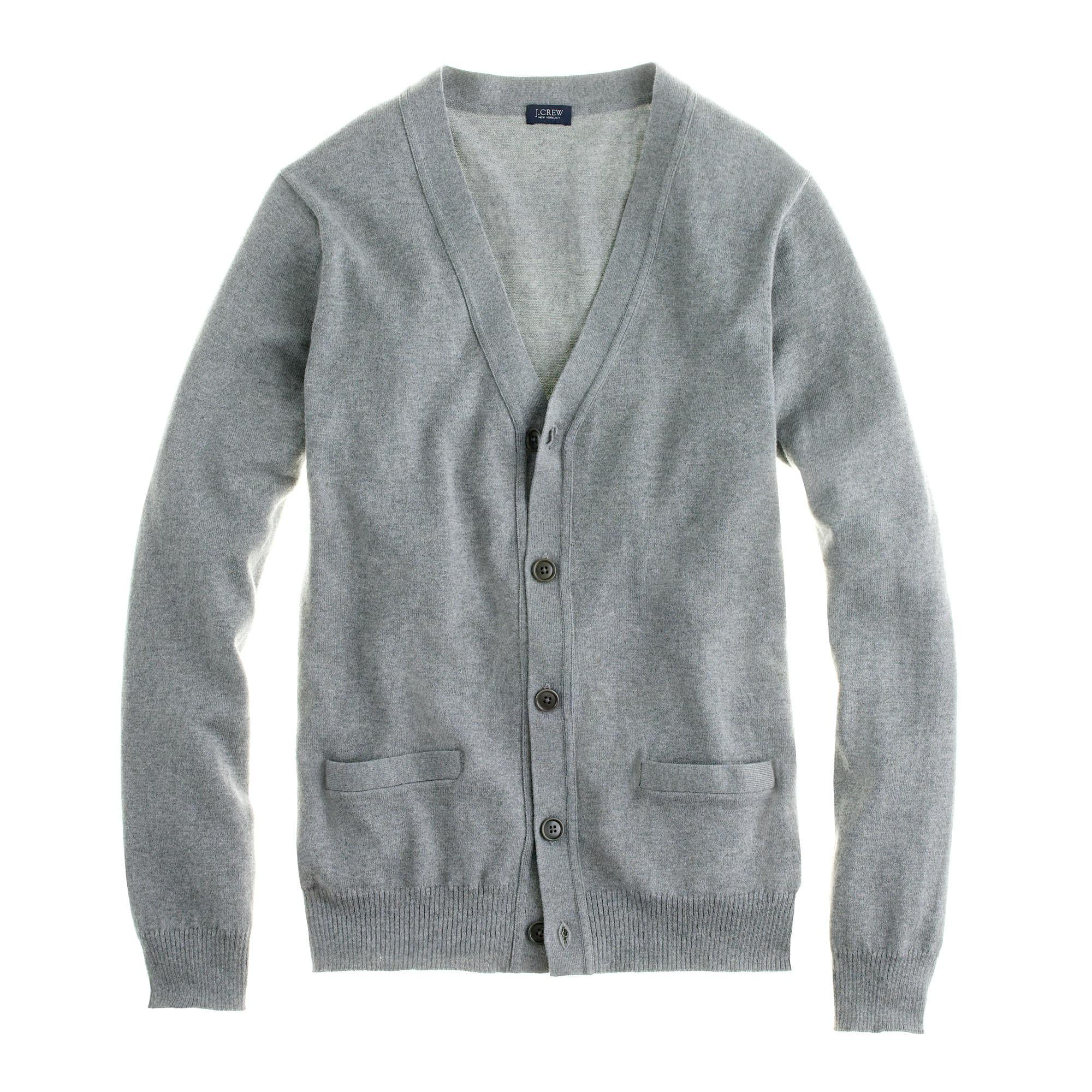 J.crew Cotton-cashmere Cardigan Sweater in Gray for Men | Lyst