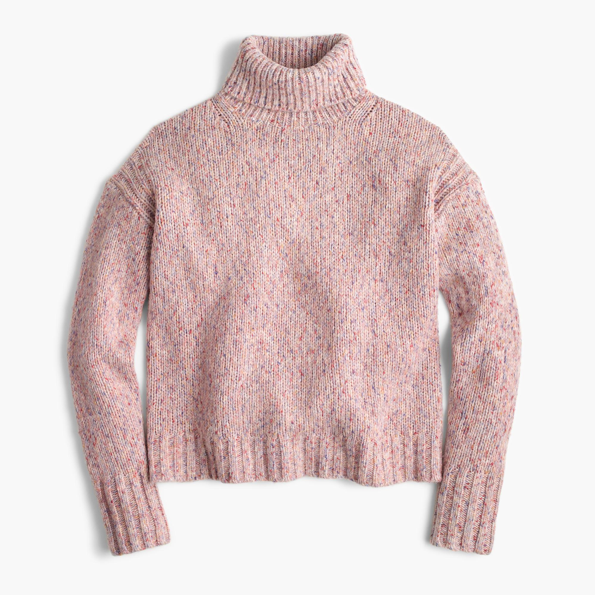 J.crew Marled Wool Turtleneck Sweater in Pink | Lyst