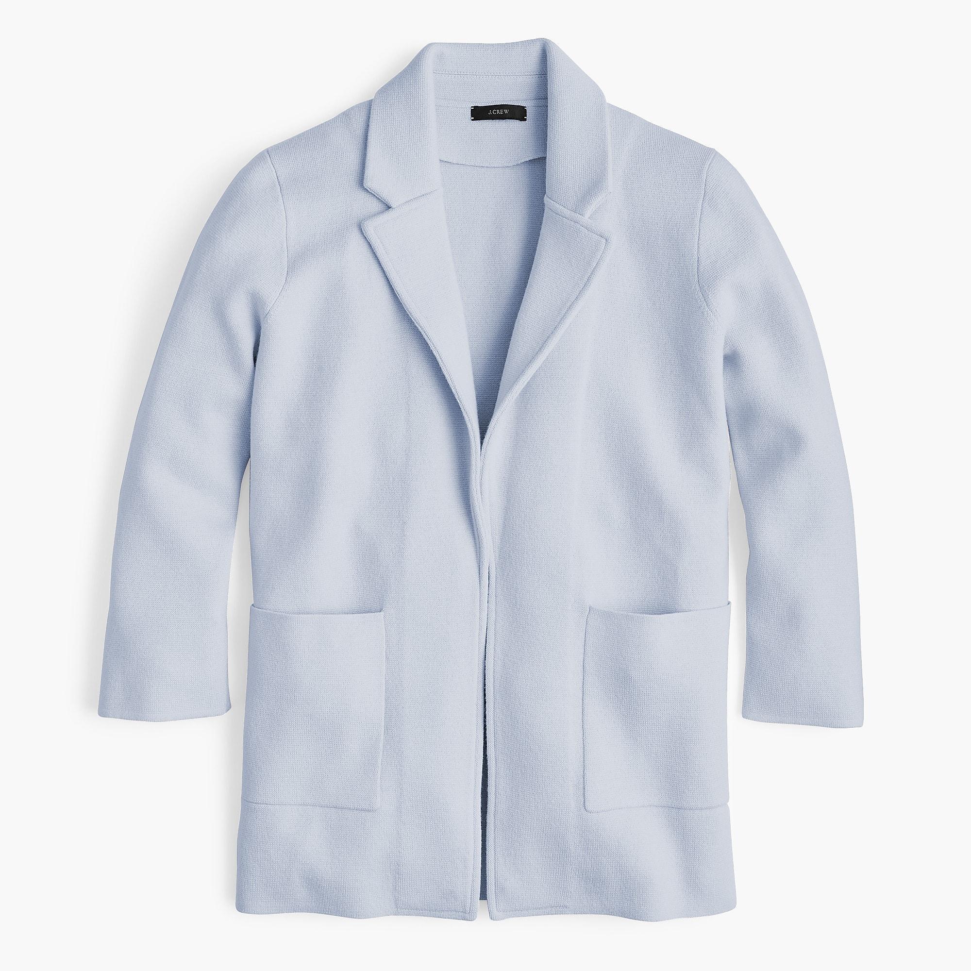 Lyst Jcrew Sophie Open Front Sweater Blazer In Blue
