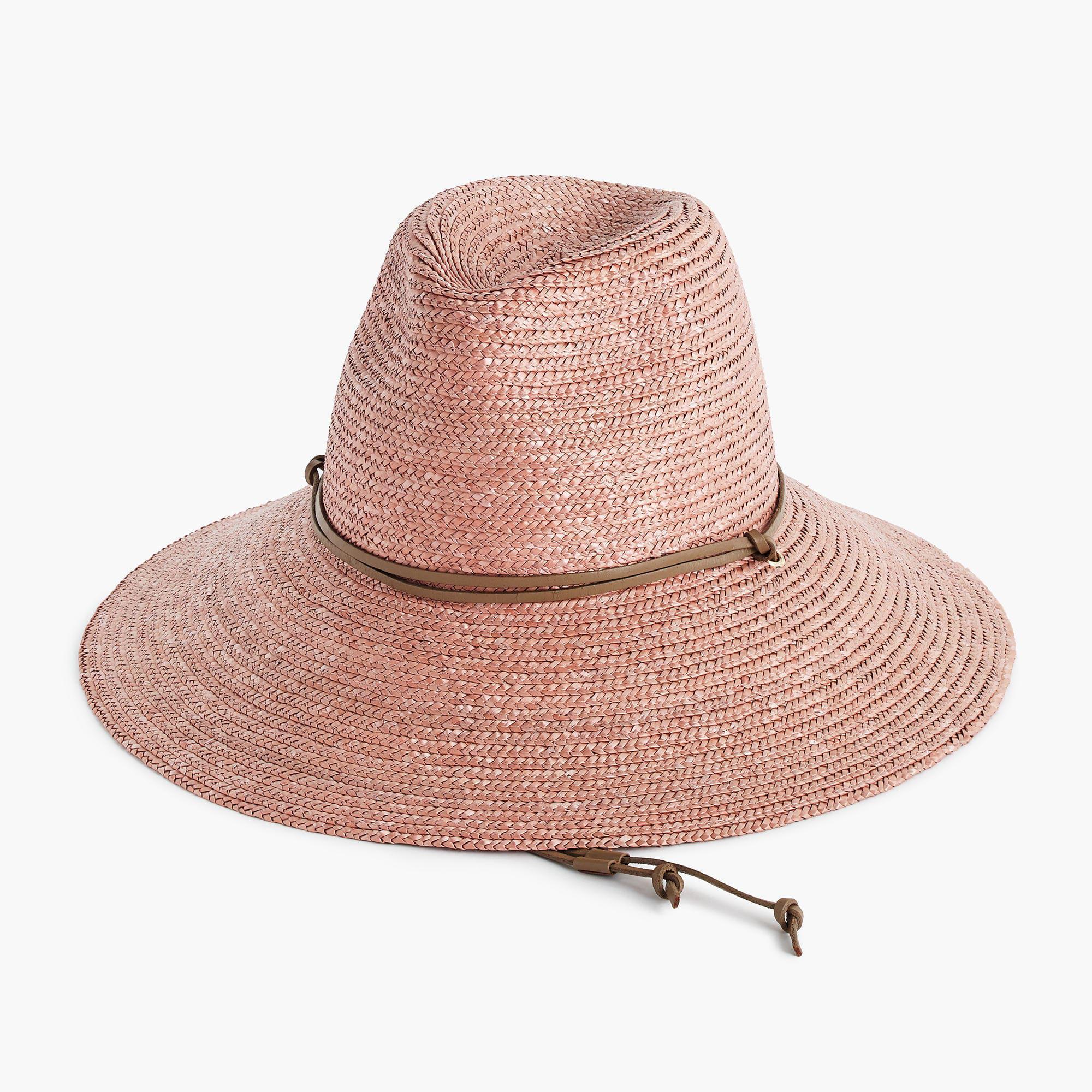 088ec8e4cbf48 J.Crew Wide-brim Hat With Leather Trim in Pink - Lyst