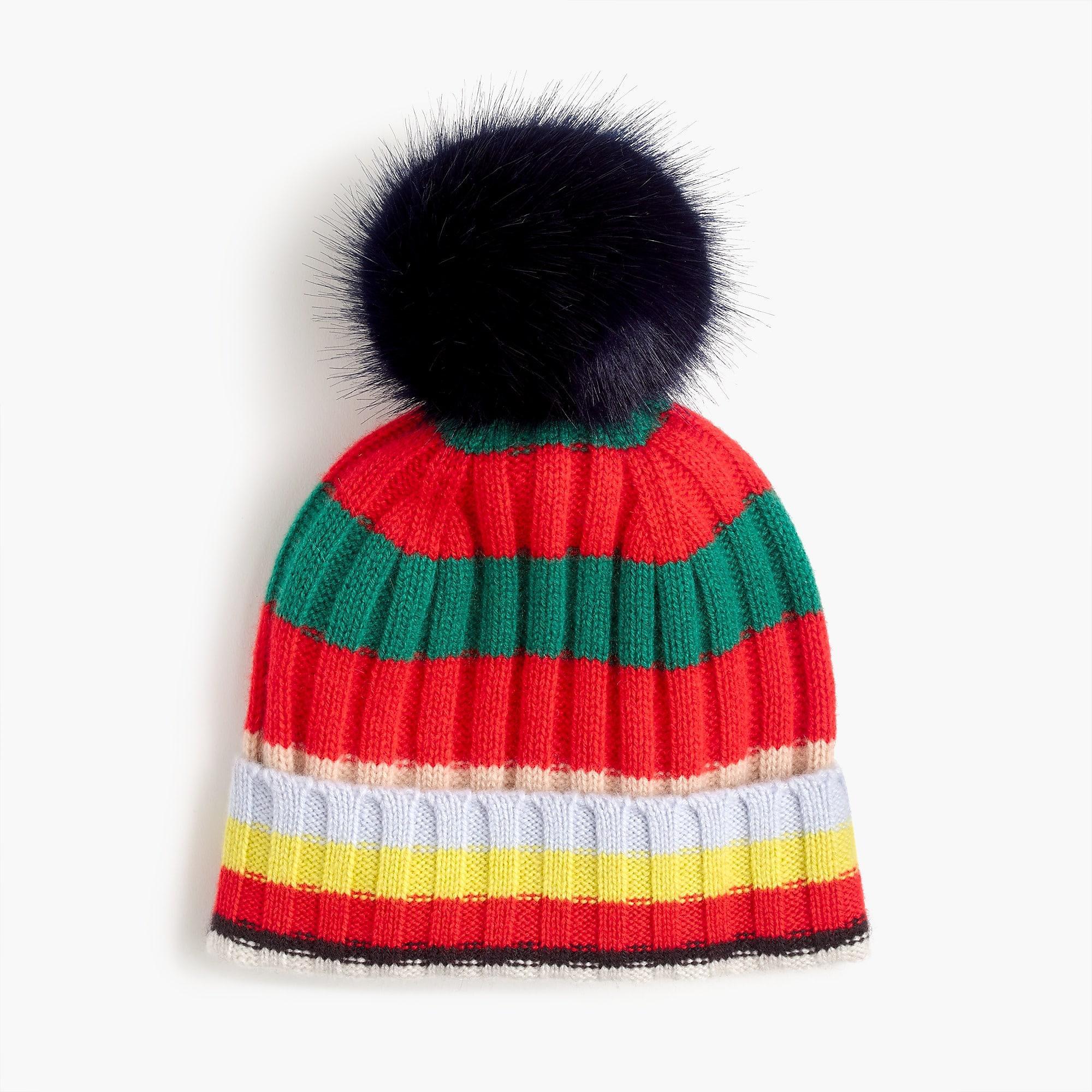 68a0ec85ef0 ... Blue Pom Pom Hat In Striped Everyday Cashmere - Lyst. View fullscreen