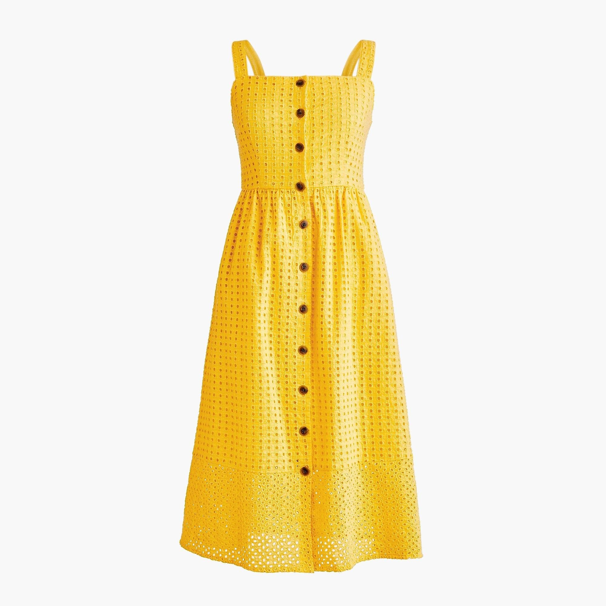 6defbbc2 J.Crew. Women's Yellow Classic Button-front Midi Sundress In Contrast Embroidered  Eyelet