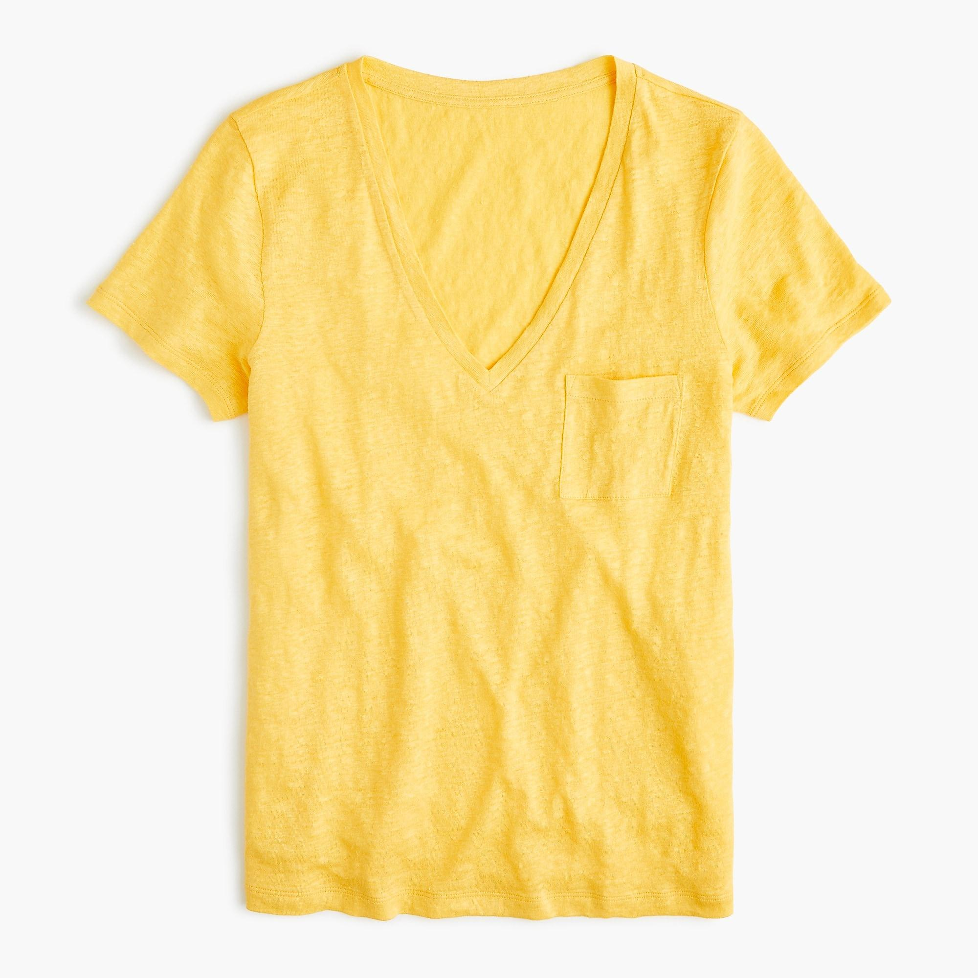 23548724f34a1e J.Crew Linen V-neck Pocket T-shirt in Yellow - Lyst