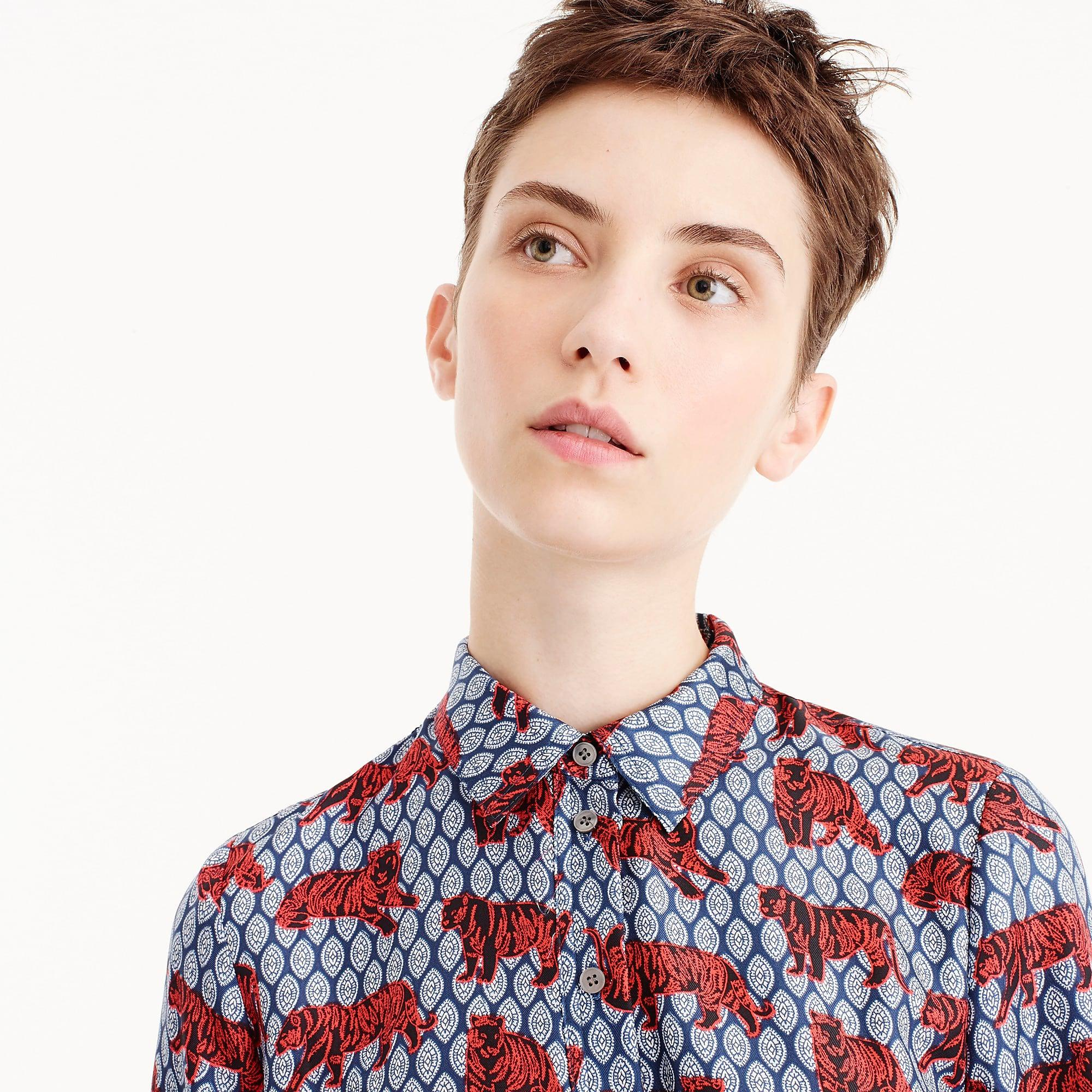 5214509b37c4f Lyst - J.Crew Collection Silk Twill Shirtdress In Roaming Tiger ...