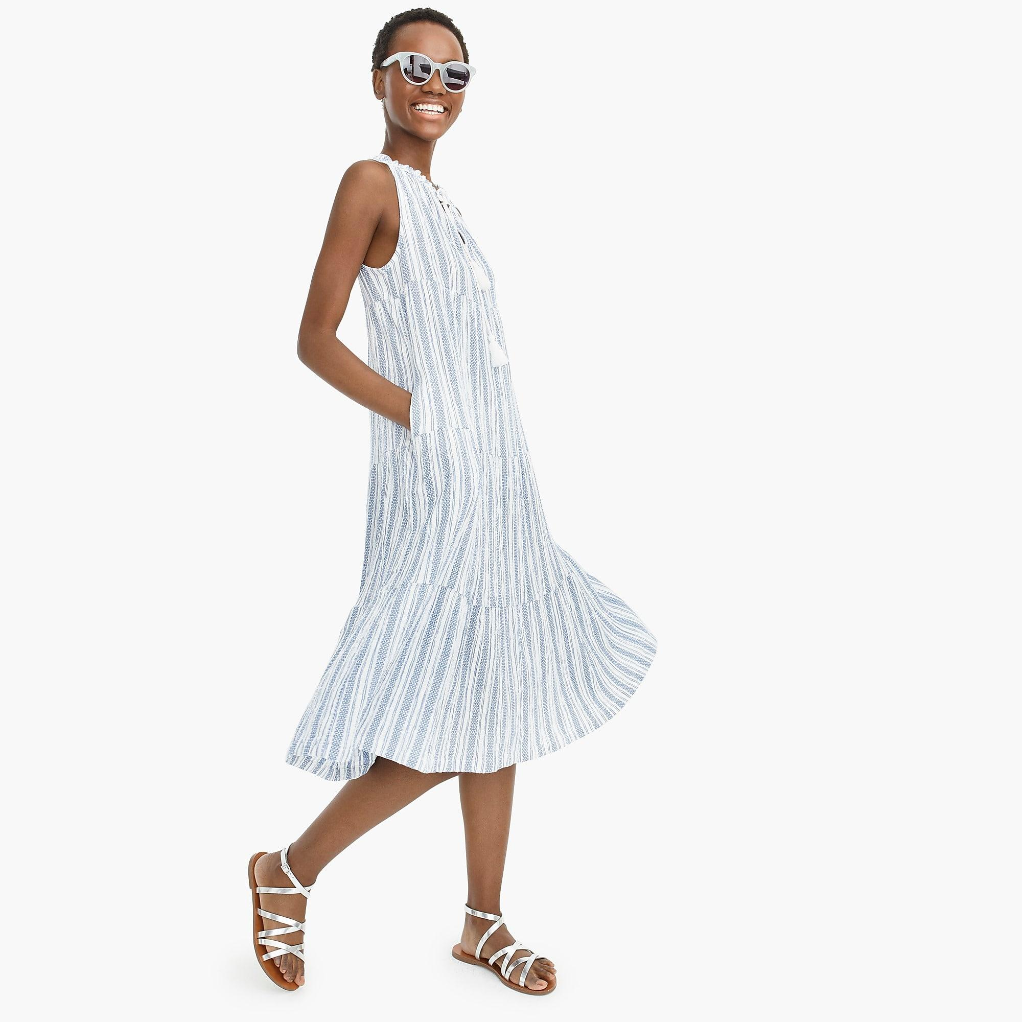 5bc2a788c J.Crew Tiered Maxi Dress In Textured Stripe in Blue - Lyst