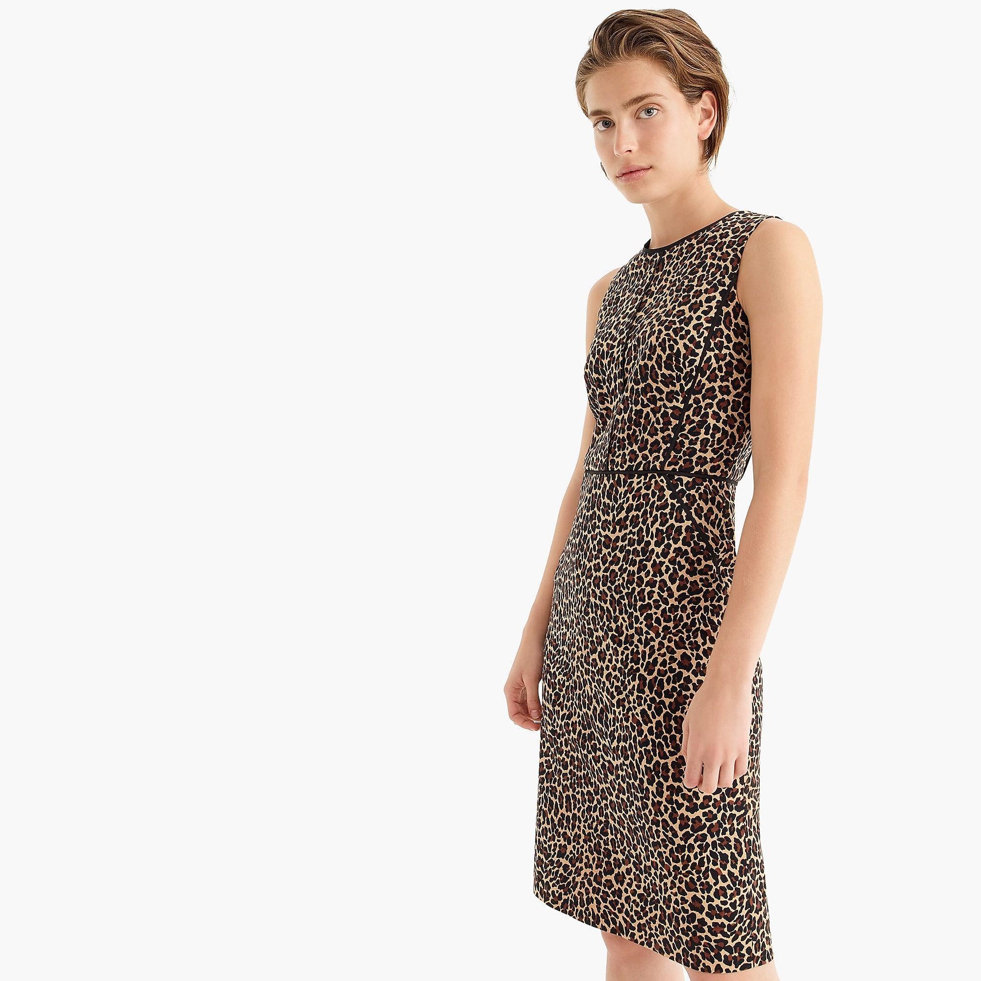 c12e9106 J.Crew. Women's Sheath Dress In Leopard Bi-stretch Cotton