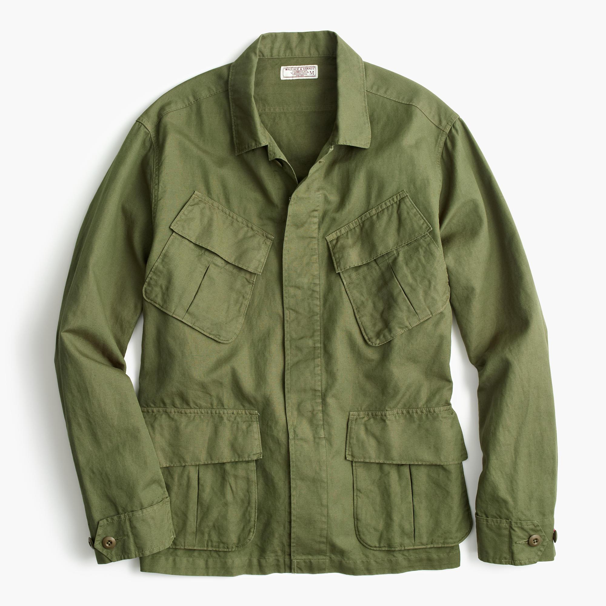 Wallace Barnes Cotton Linen Military Shirt In
