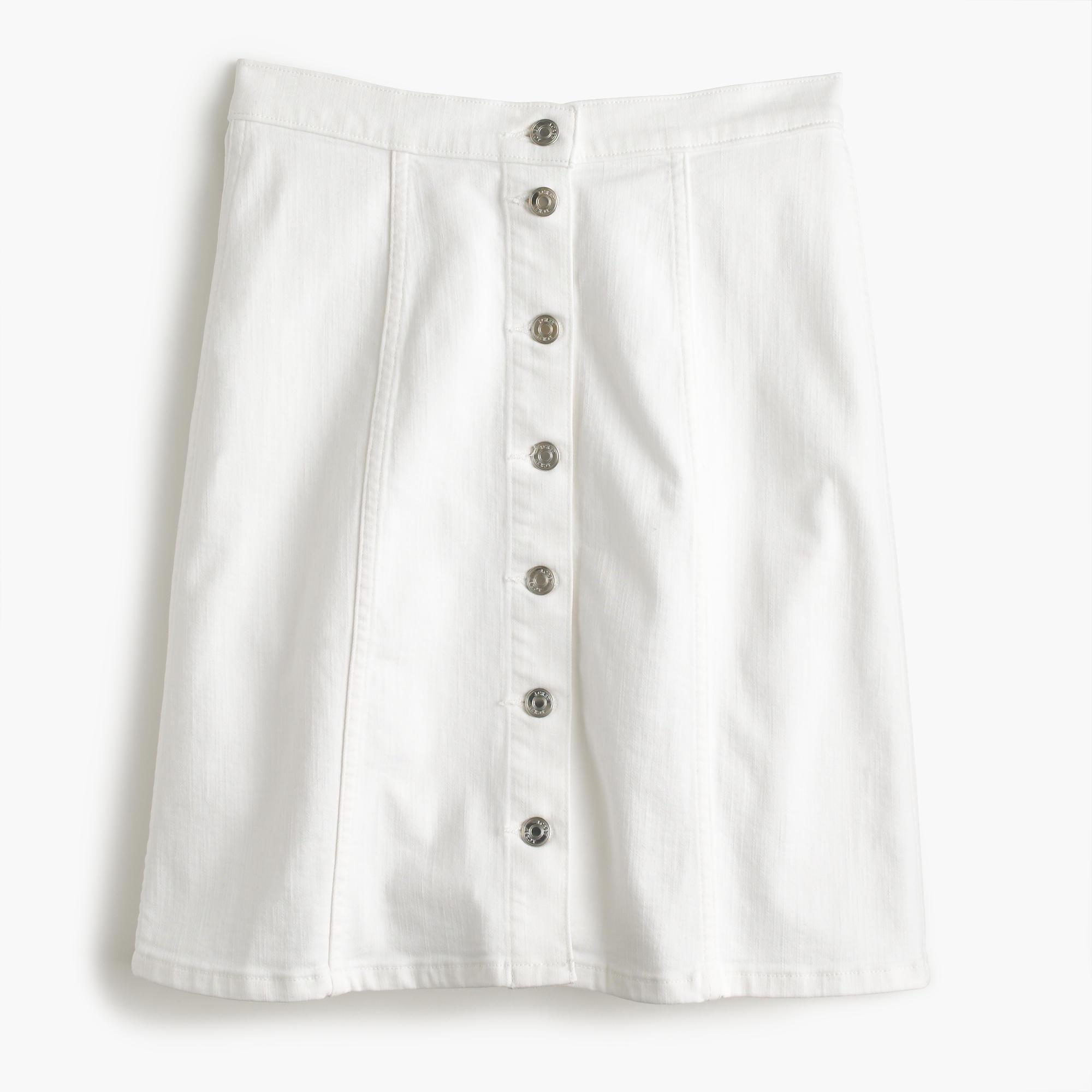 j crew button front white denim mini skirt in white