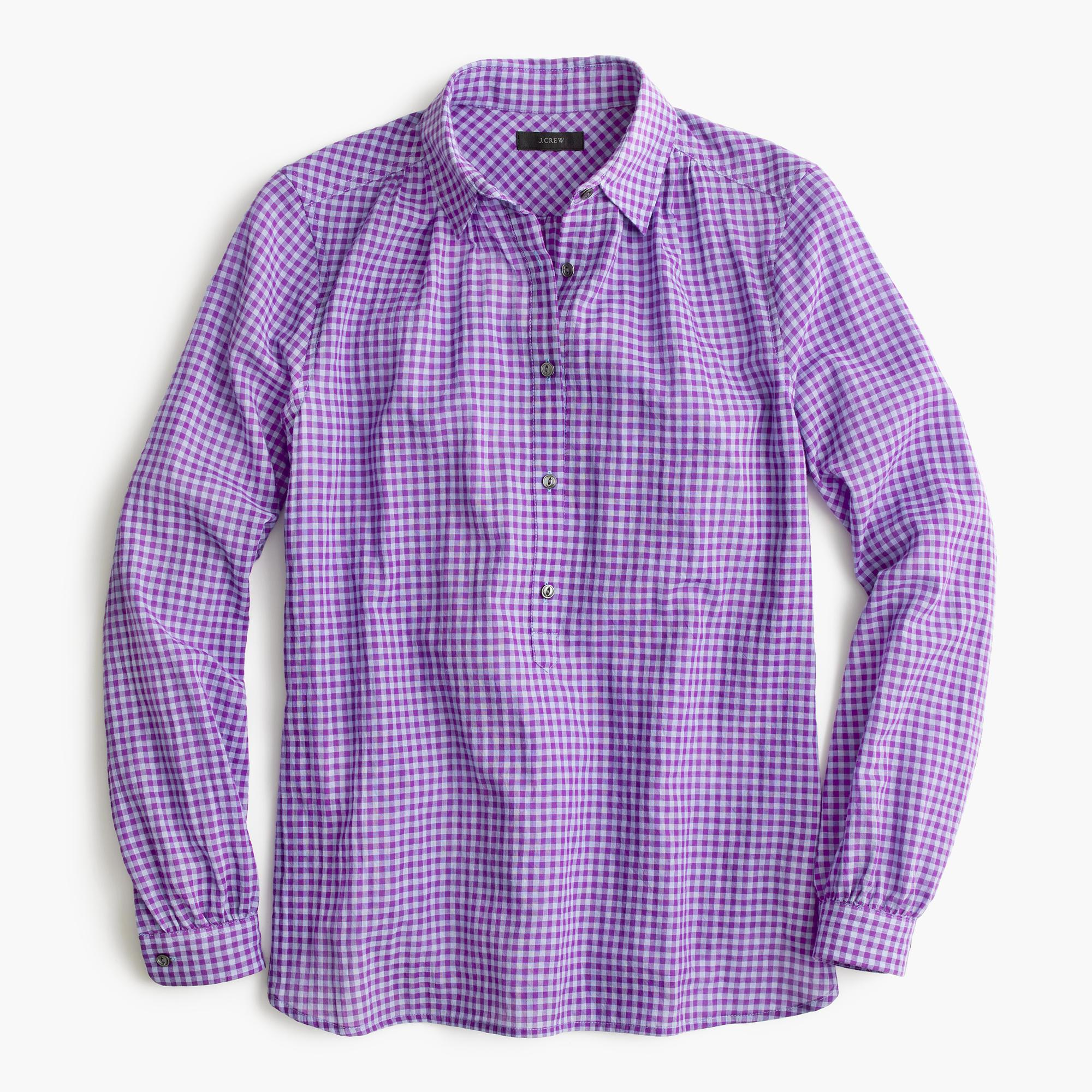 Gathered popover shirt in two tone lavender gingham for Men s purple gingham shirt