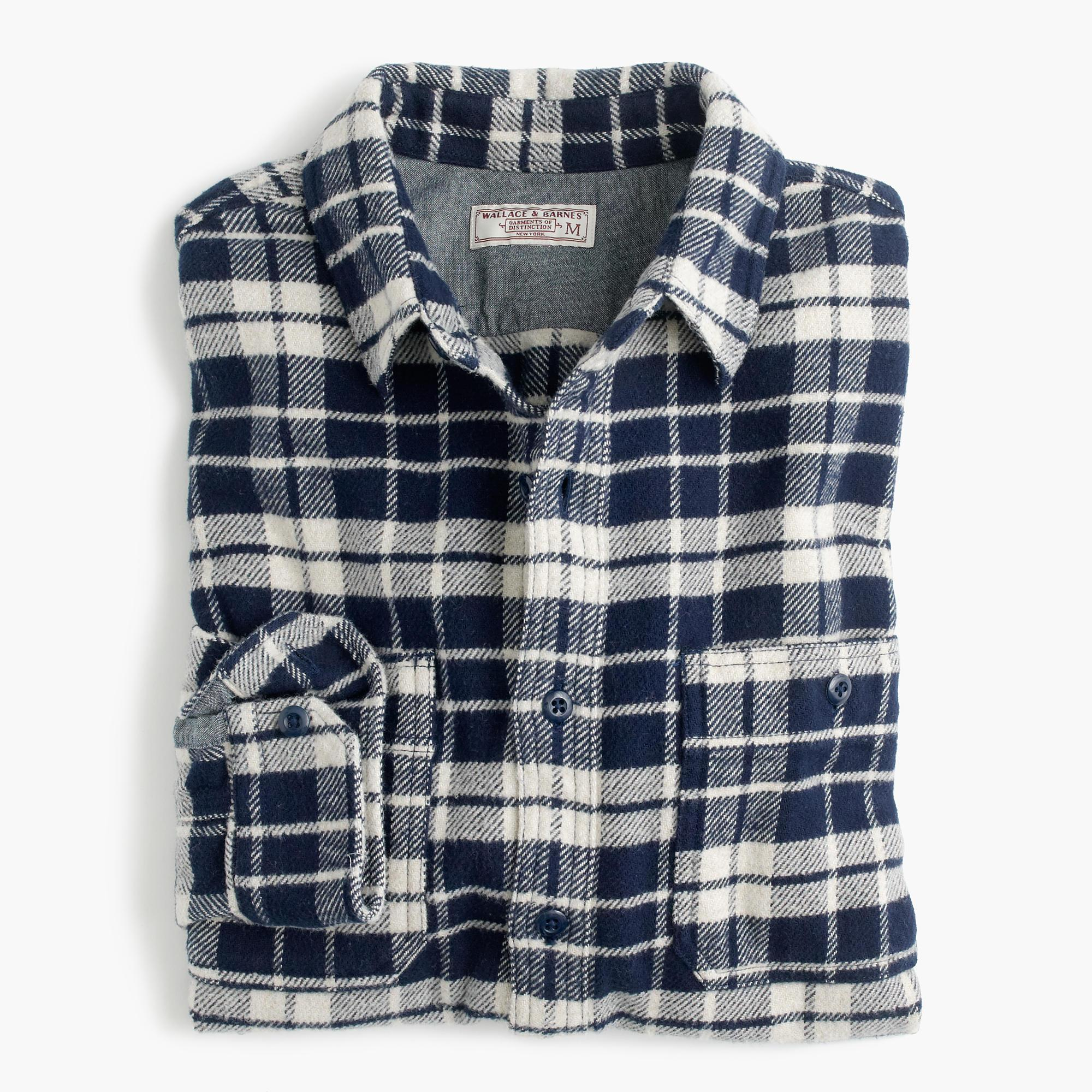 Wallace Barnes Heavyweight Flannel Shirt In Blue