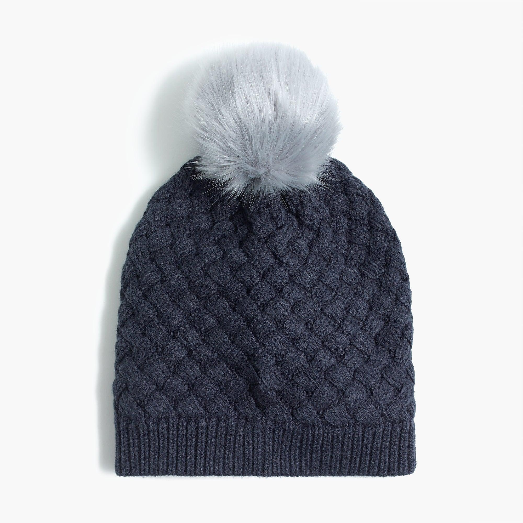 f487e3825ac68 Lyst - J.Crew Knit Hat With Faux-fur Pom-pom in Blue