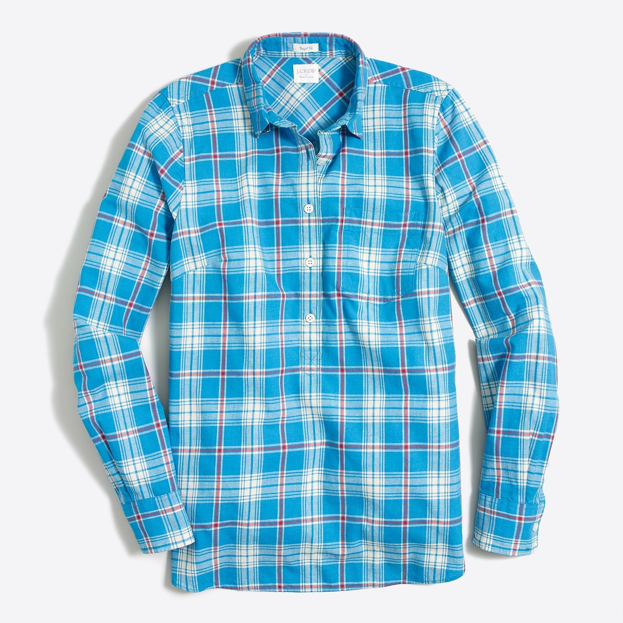 4722718b1be84 Lyst - J.Crew Petite Gingham Homespun Shirt In Perfect Fit in Blue ...