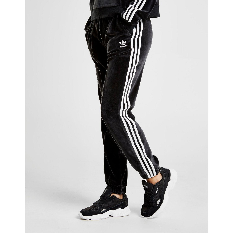 cc66643b14f Lyst - adidas Originals 3-stripes Velvet Track Pants in Black