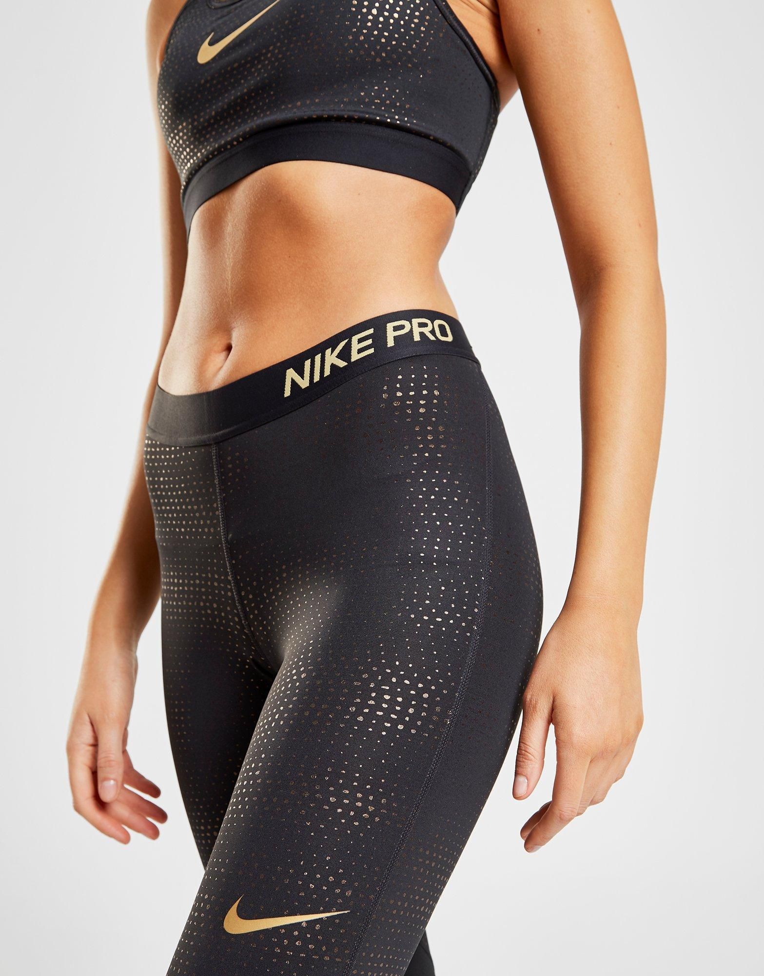 3b2546313ca82 Lyst - Nike Pro Training Metallic Dot Tights in Black