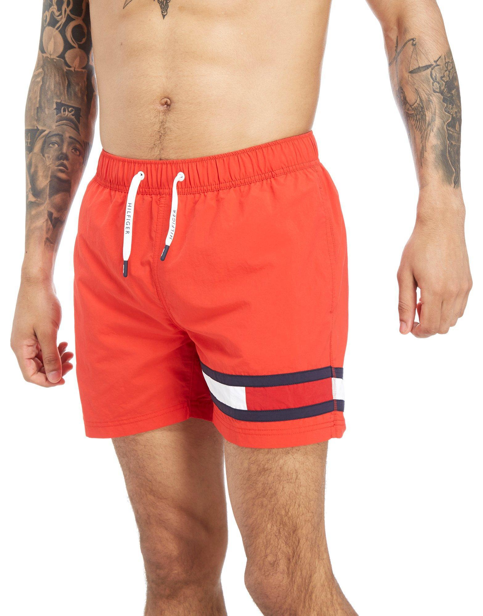 aeaf65aa3bdcbc Tommy Hilfiger Leg Flag Swim Shorts in Red for Men - Save ...