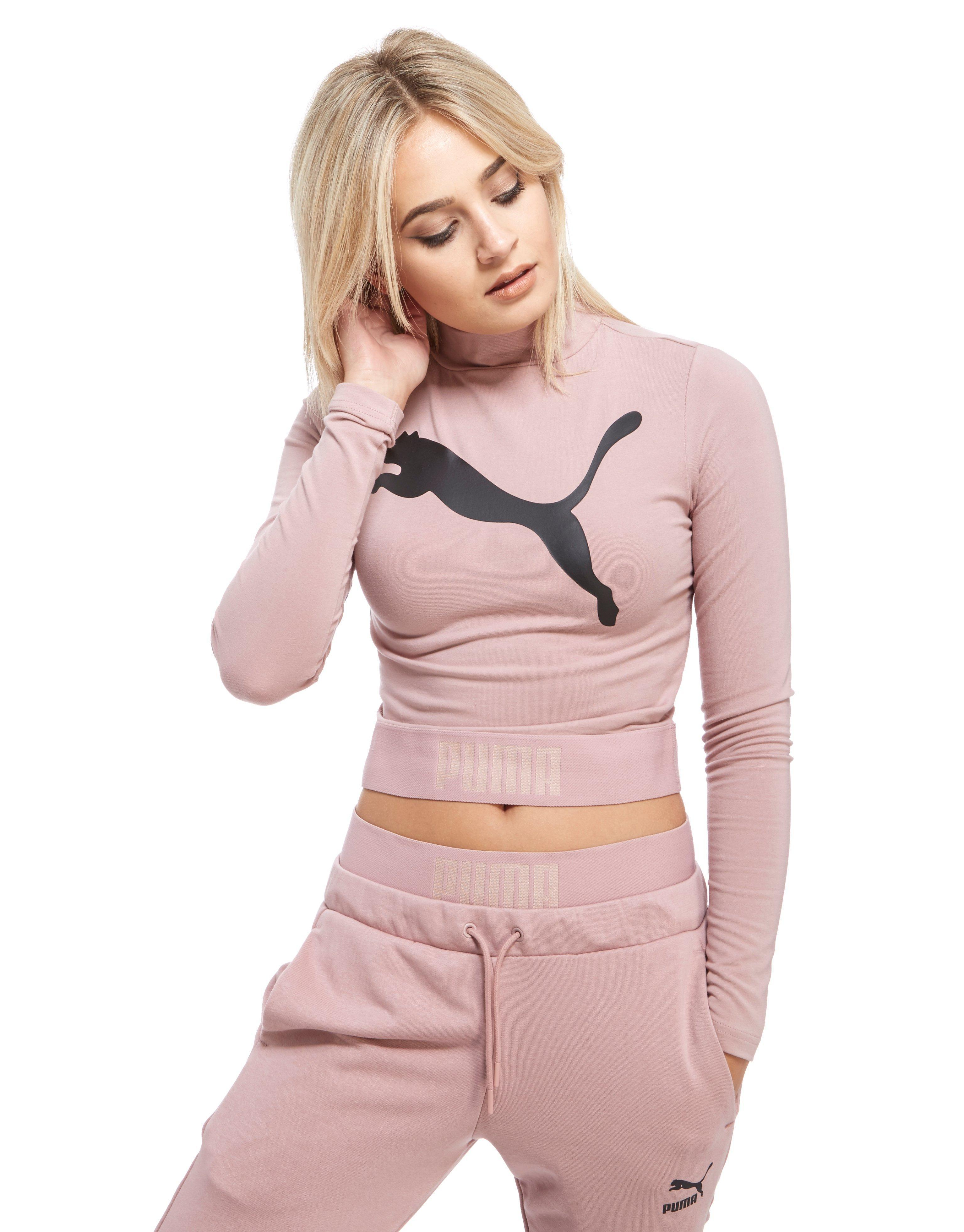 e81316fa91f02 PUMA High Neck Long-sleeved Crop Top in Pink - Lyst