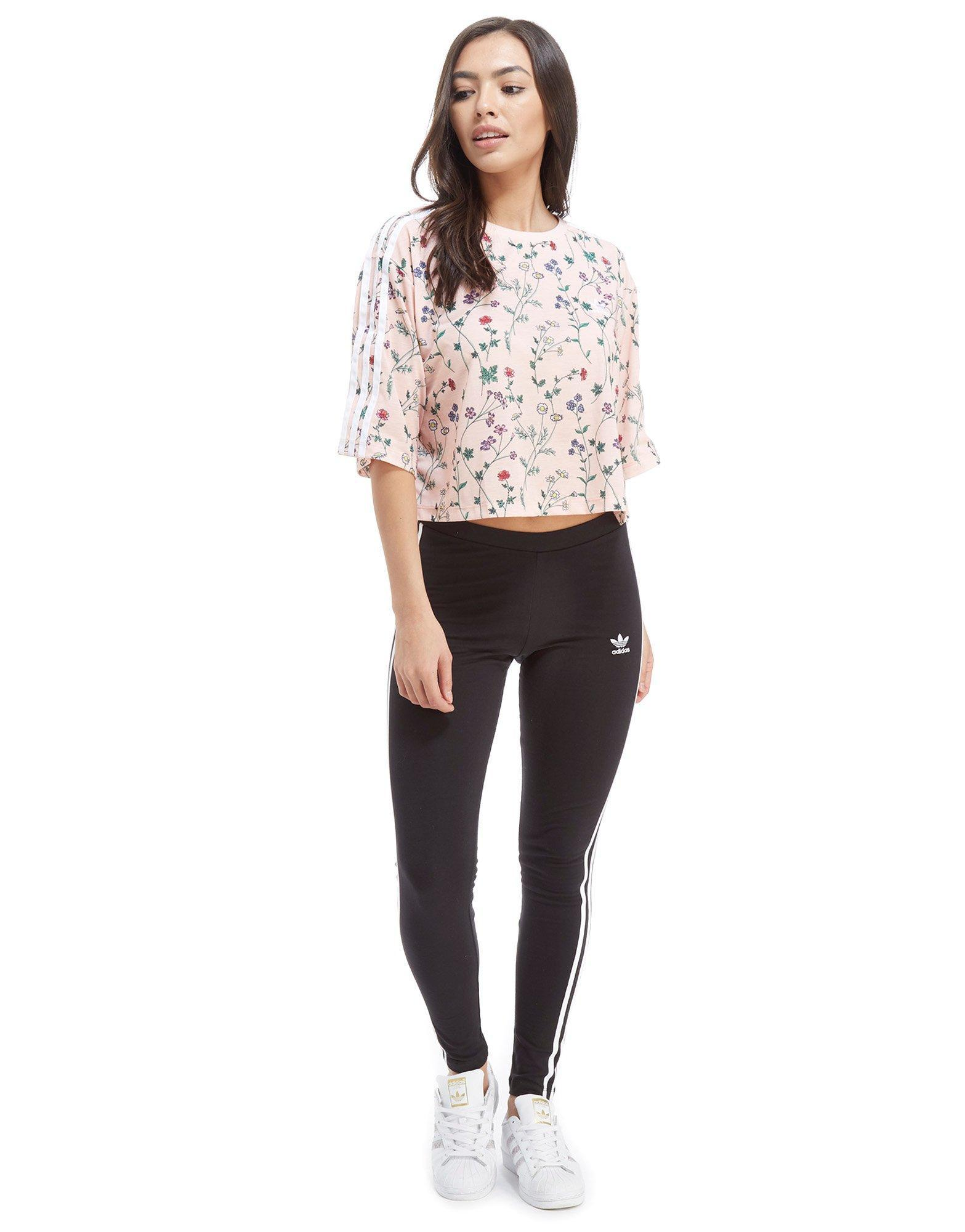 59bfd524affc adidas Originals All Over Print Floral Crop T-shirt in Pink - Lyst