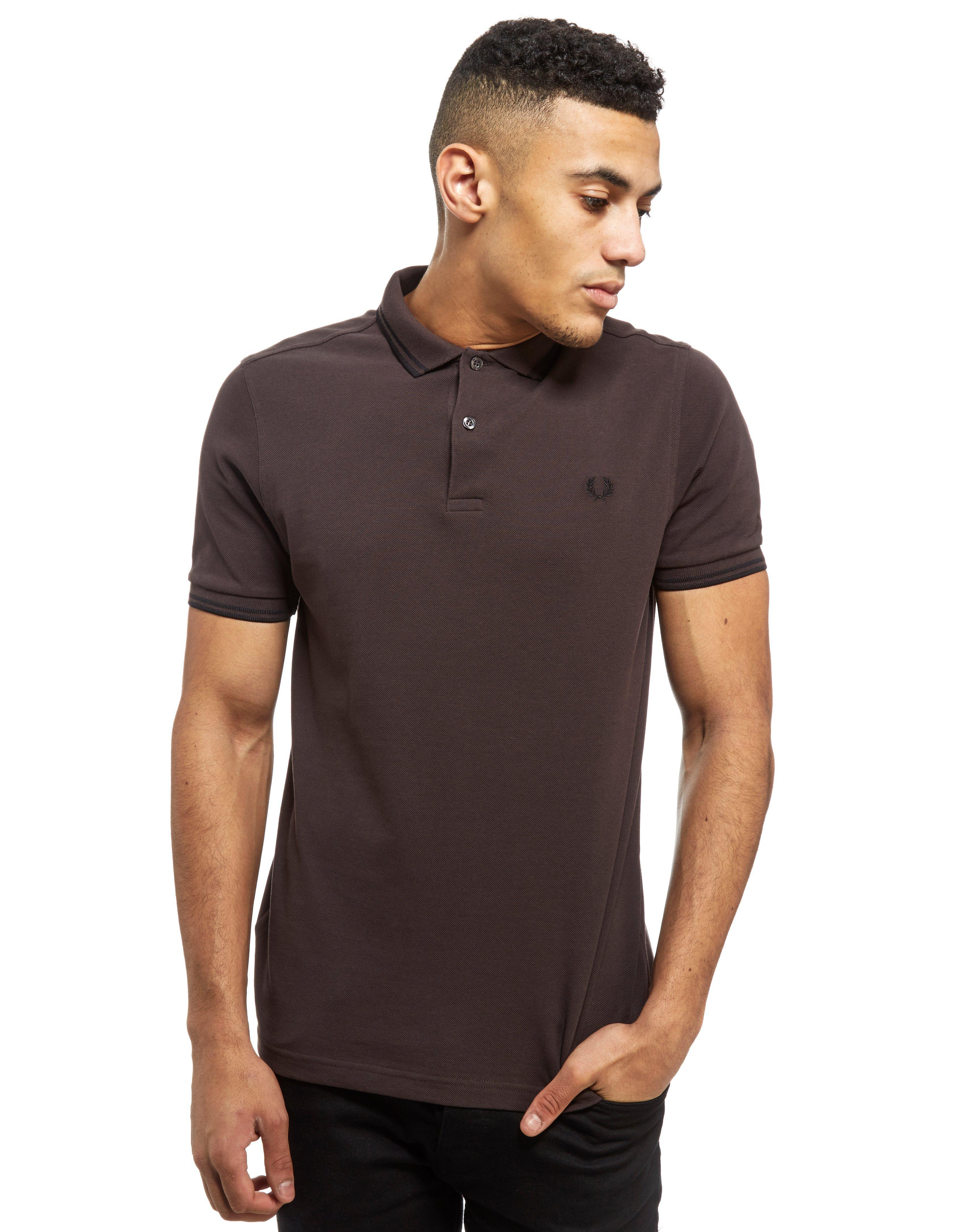 lyst fred perry twin tipped short sleeve polo shirt in brown for men. Black Bedroom Furniture Sets. Home Design Ideas