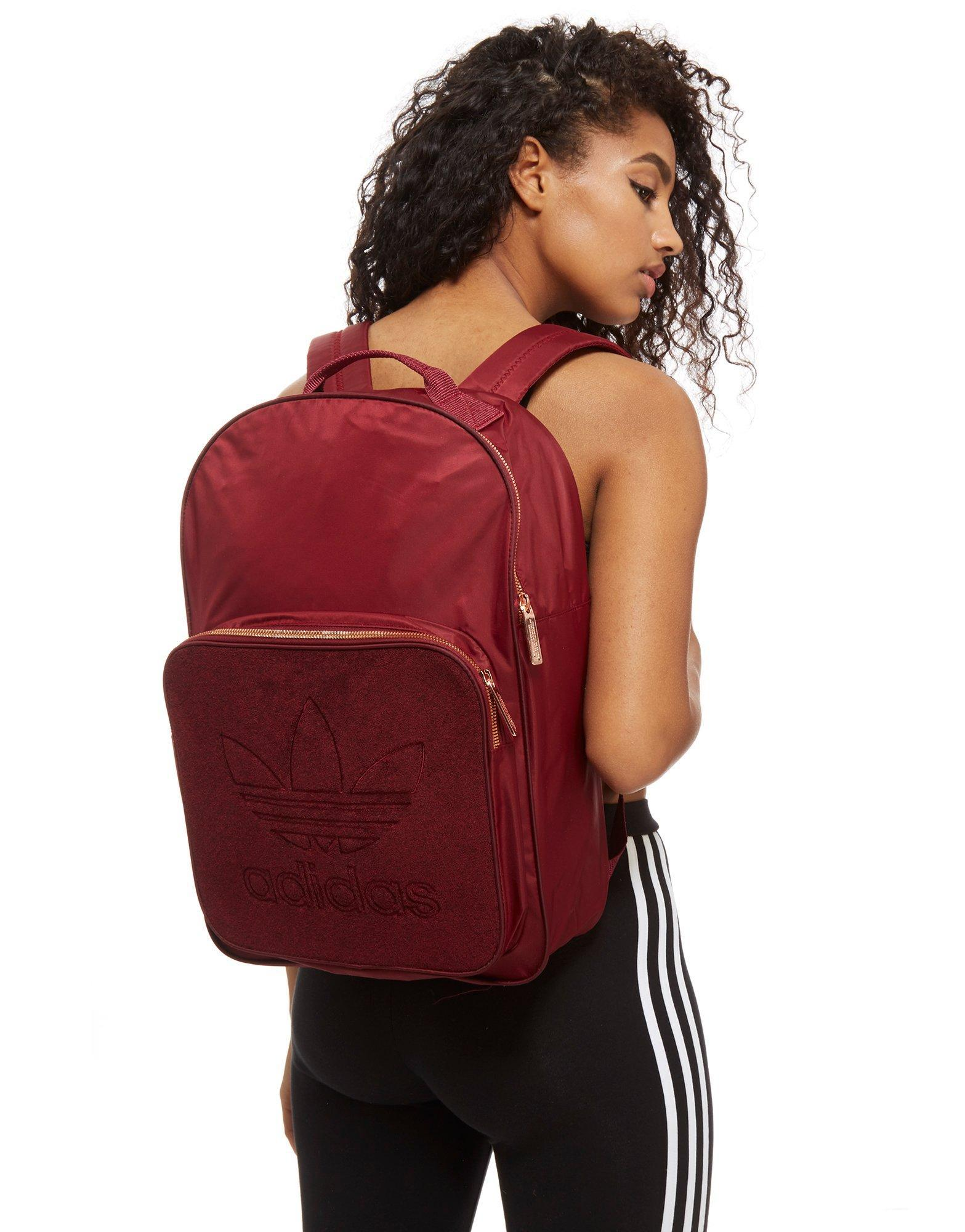 3e73f015e1 adidas Originals Classic Velour Backpack in Red - Lyst