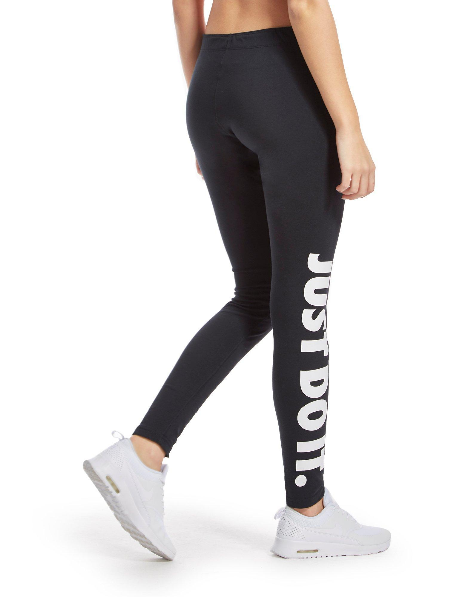 nike leg a see just do it leggings in black lyst. Black Bedroom Furniture Sets. Home Design Ideas