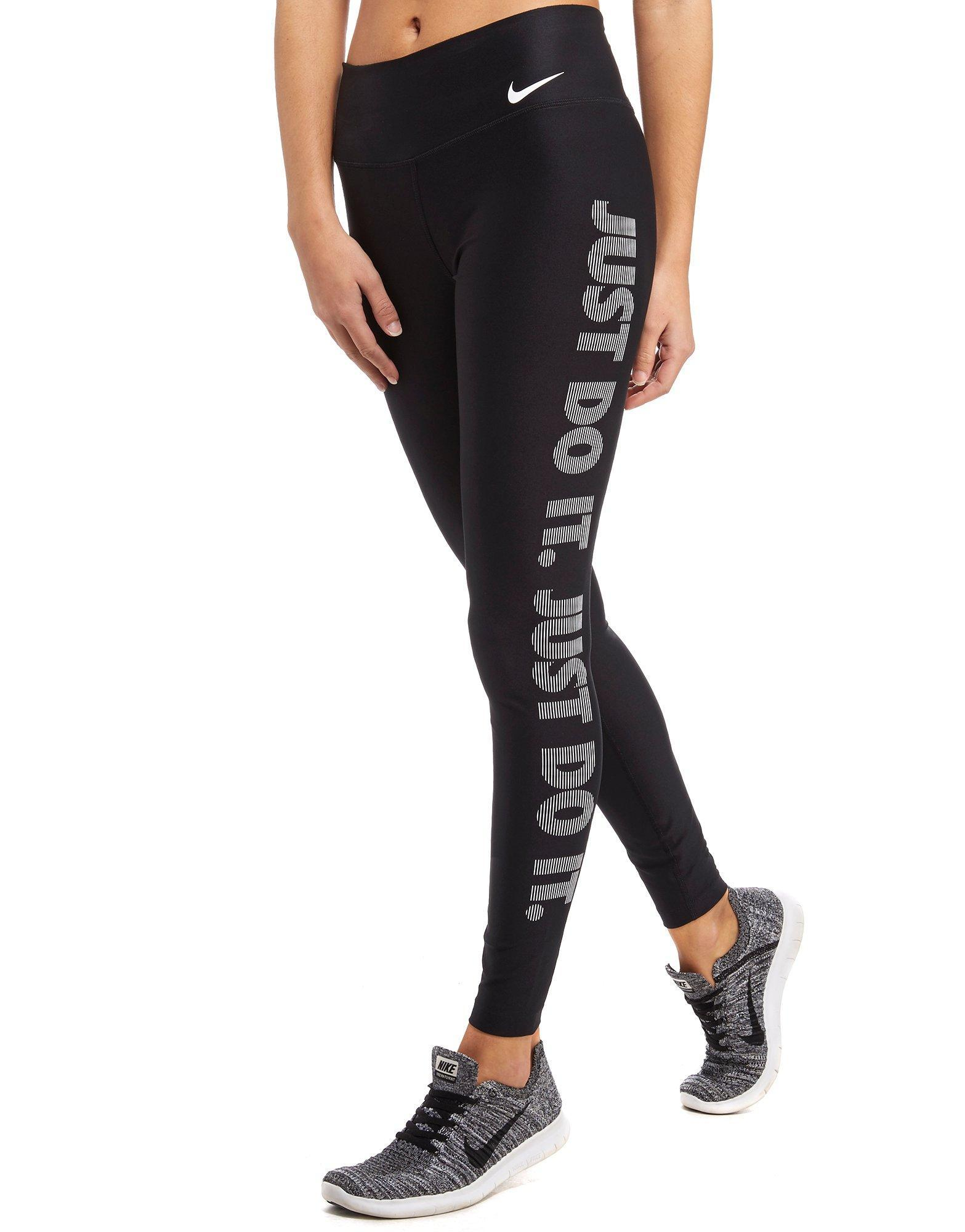 nike just do it right power tights in black lyst. Black Bedroom Furniture Sets. Home Design Ideas